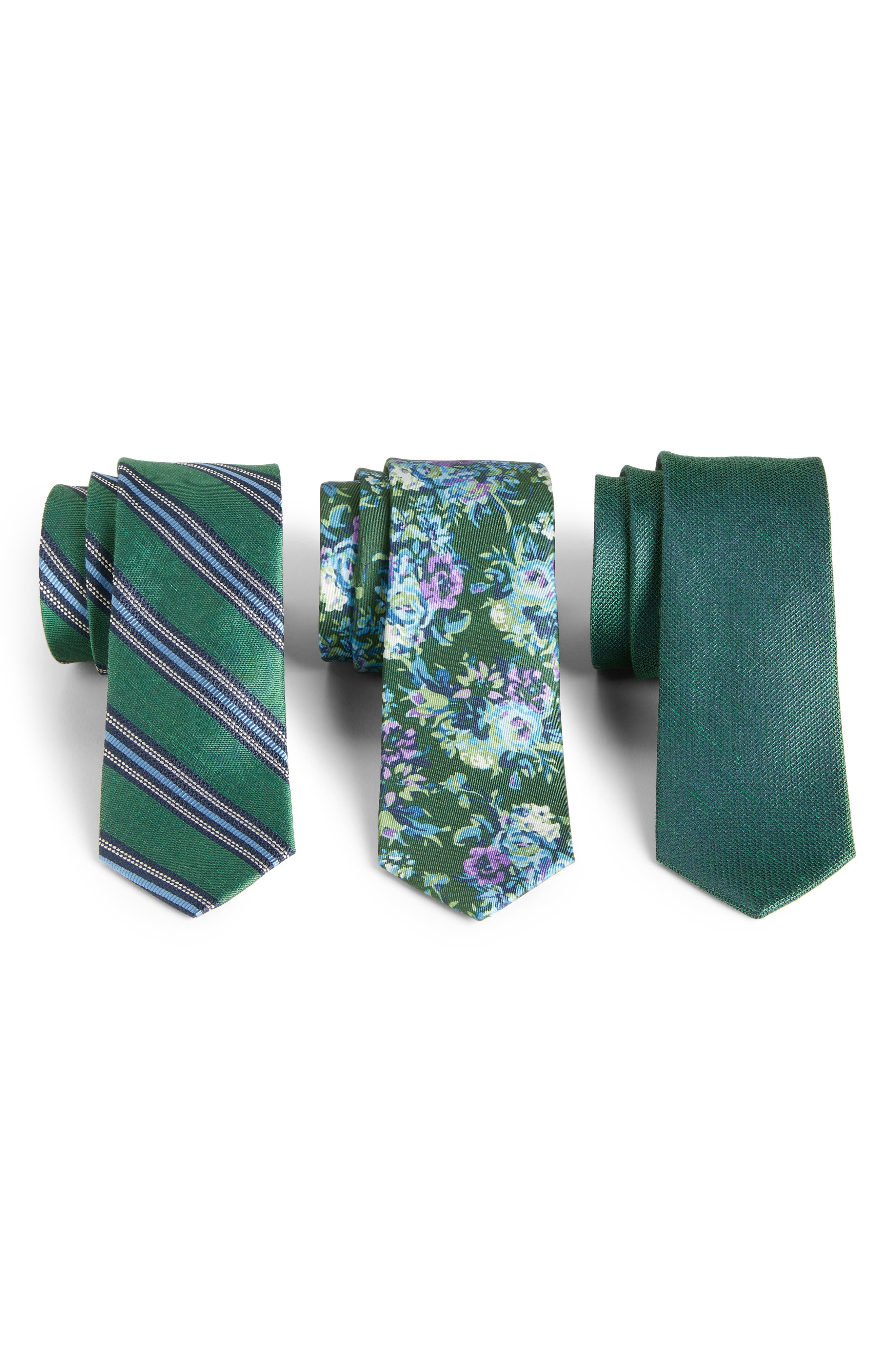 THE TIE BAR, Green Trend Set of 3 Skinny Silk Ties, Main thumbnail 1, color, HUNTER GREEN