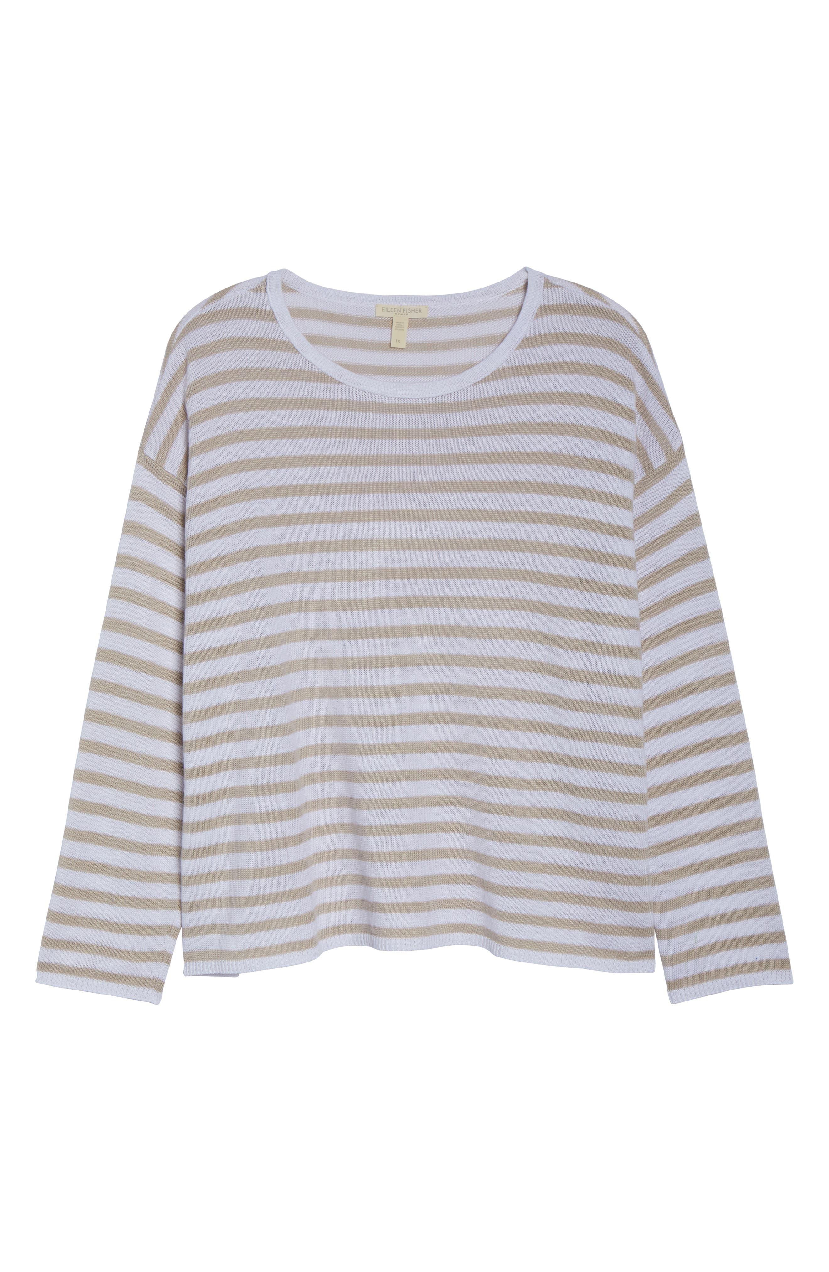 EILEEN FISHER, Stripe Organic Linen Sweater, Alternate thumbnail 6, color, WHITE NATURAL