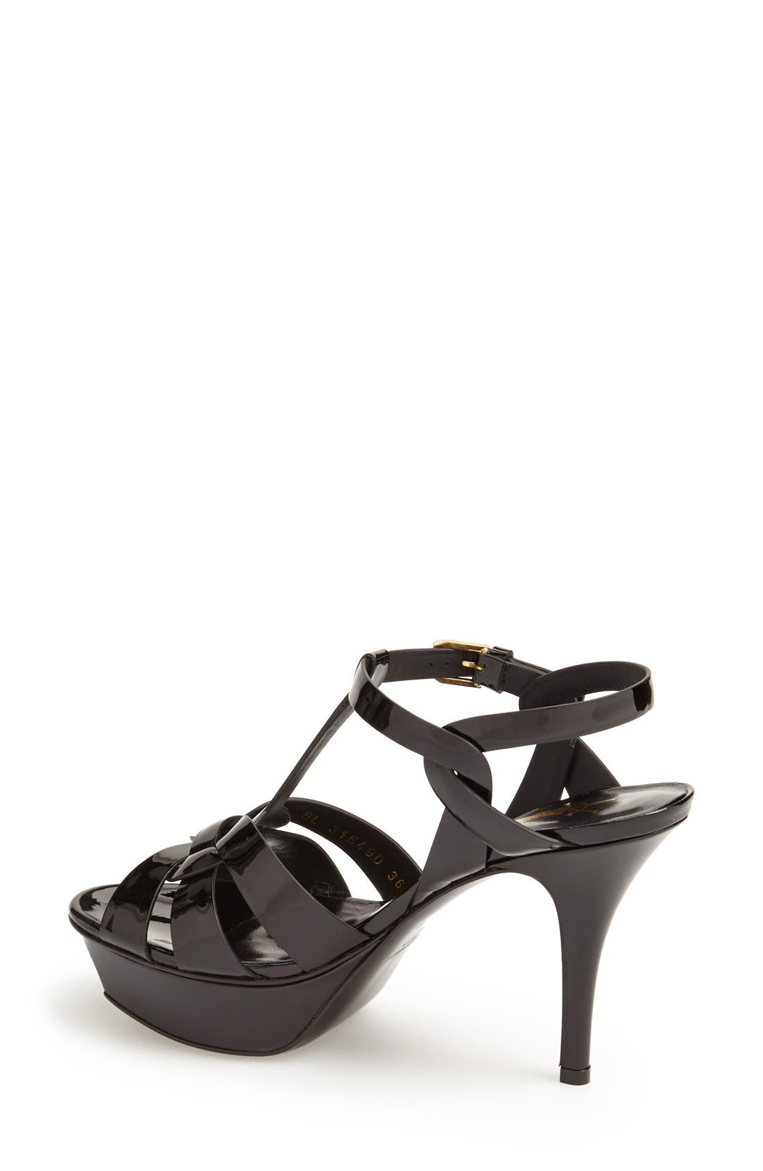 SAINT LAURENT, 'Tribute' T-Strap Sandal, Alternate thumbnail 4, color, BLACK