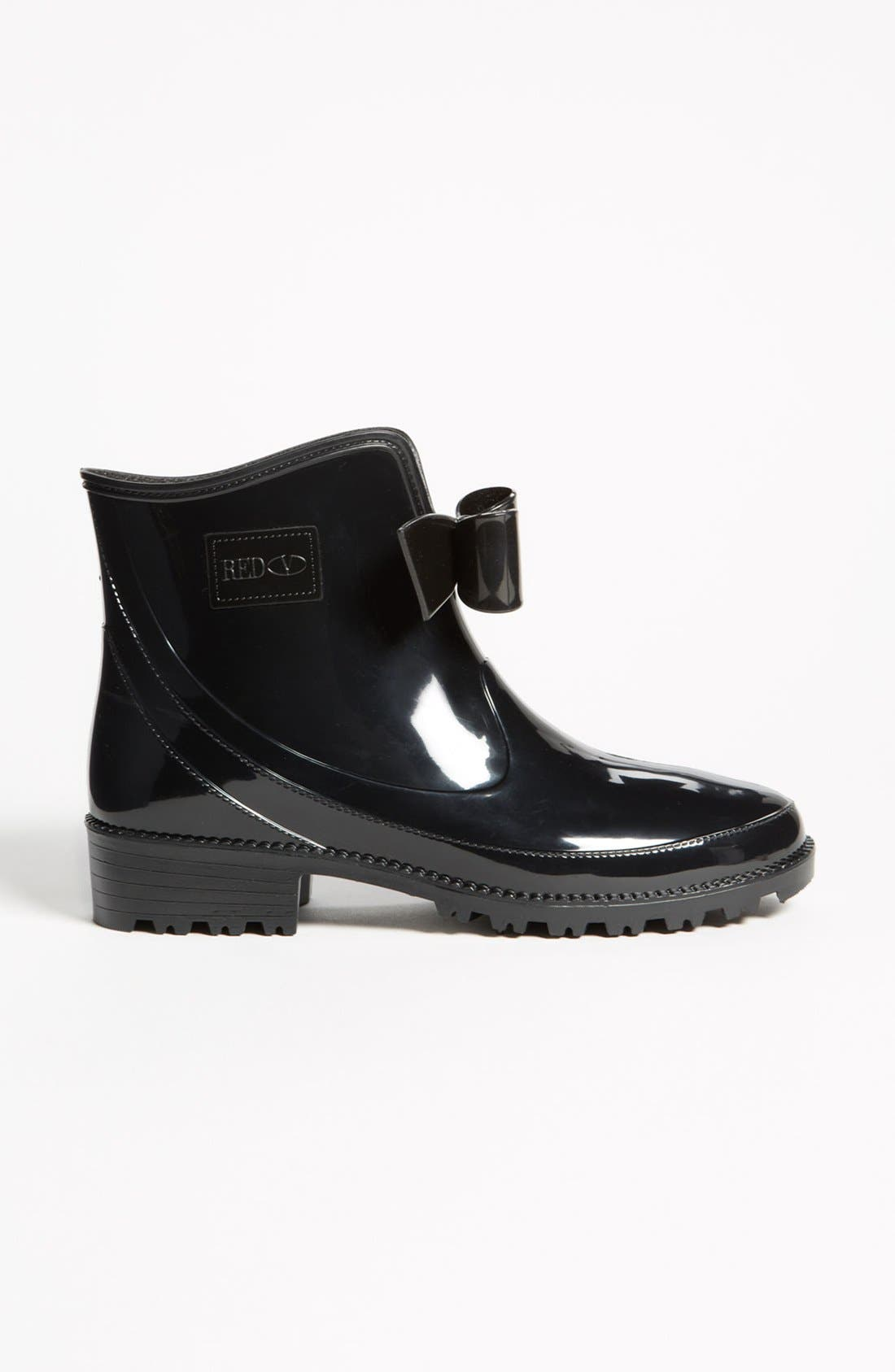 RED VALENTINO, 'Bow' Rain Boot, Alternate thumbnail 3, color, 001