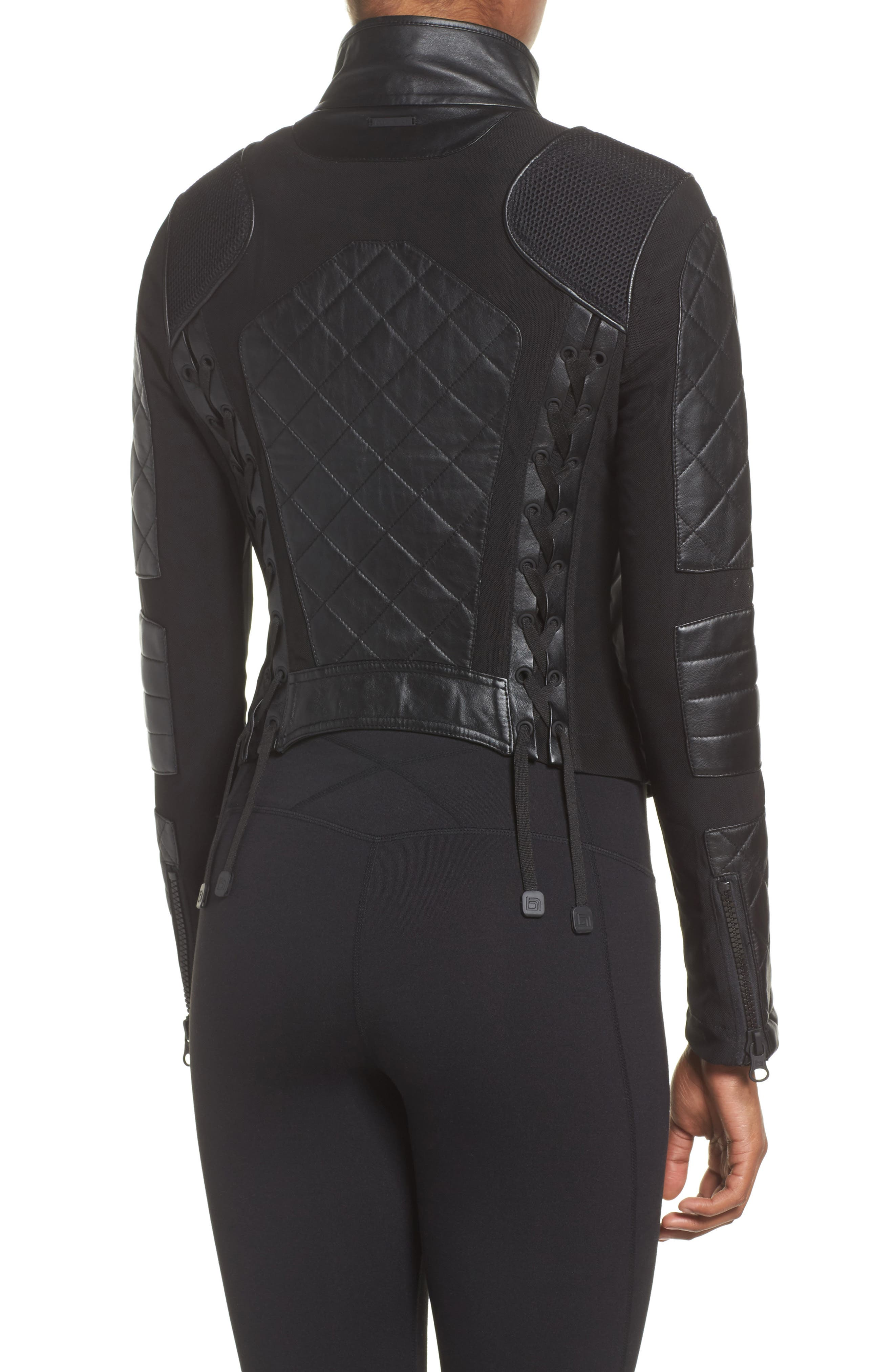BLANC NOIR, Leather & Mesh Moto Jacket, Alternate thumbnail 2, color, BLACK