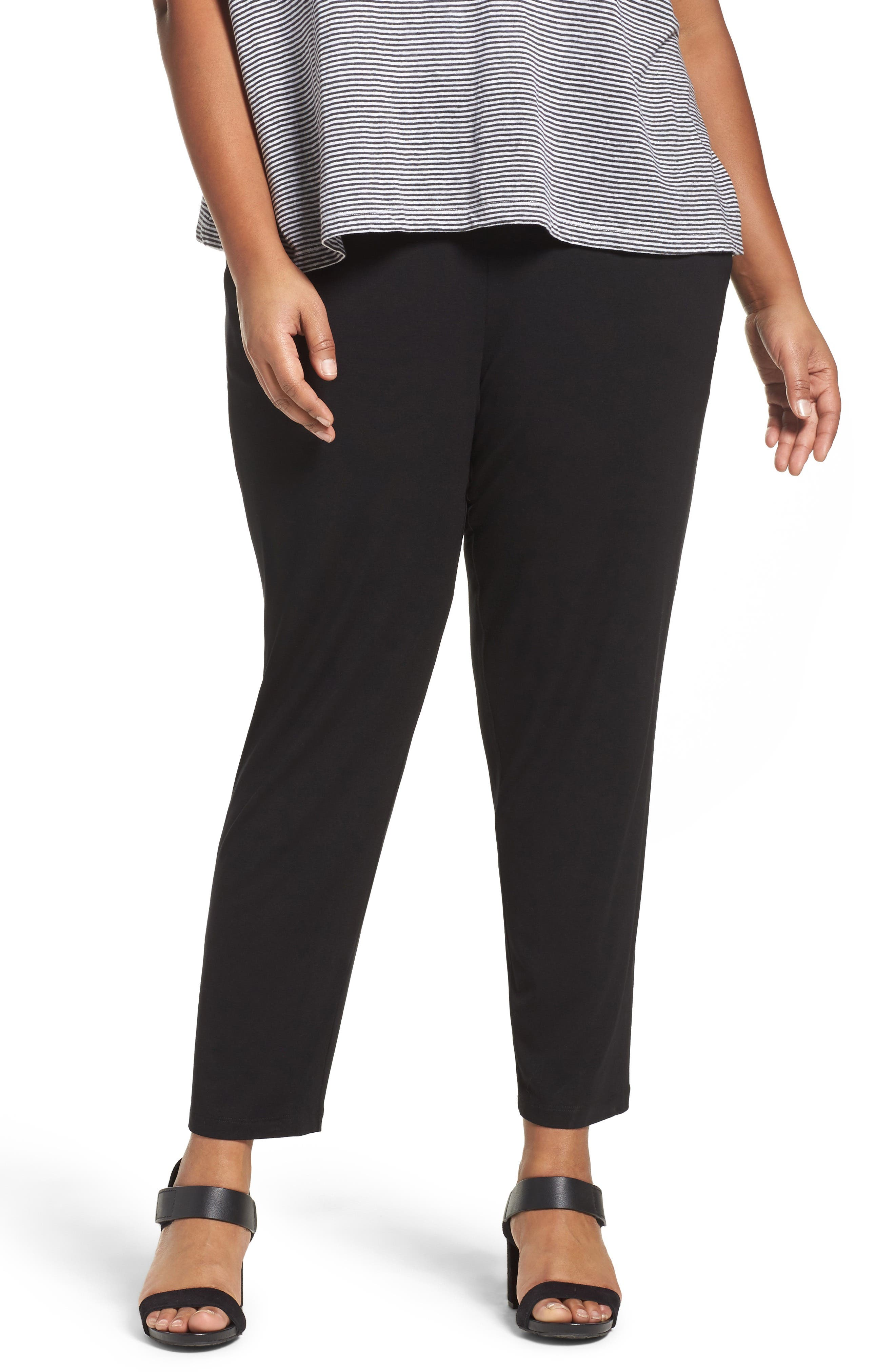 EILEEN FISHER, Crop Stretch Knit Pants, Main thumbnail 1, color, BLACK
