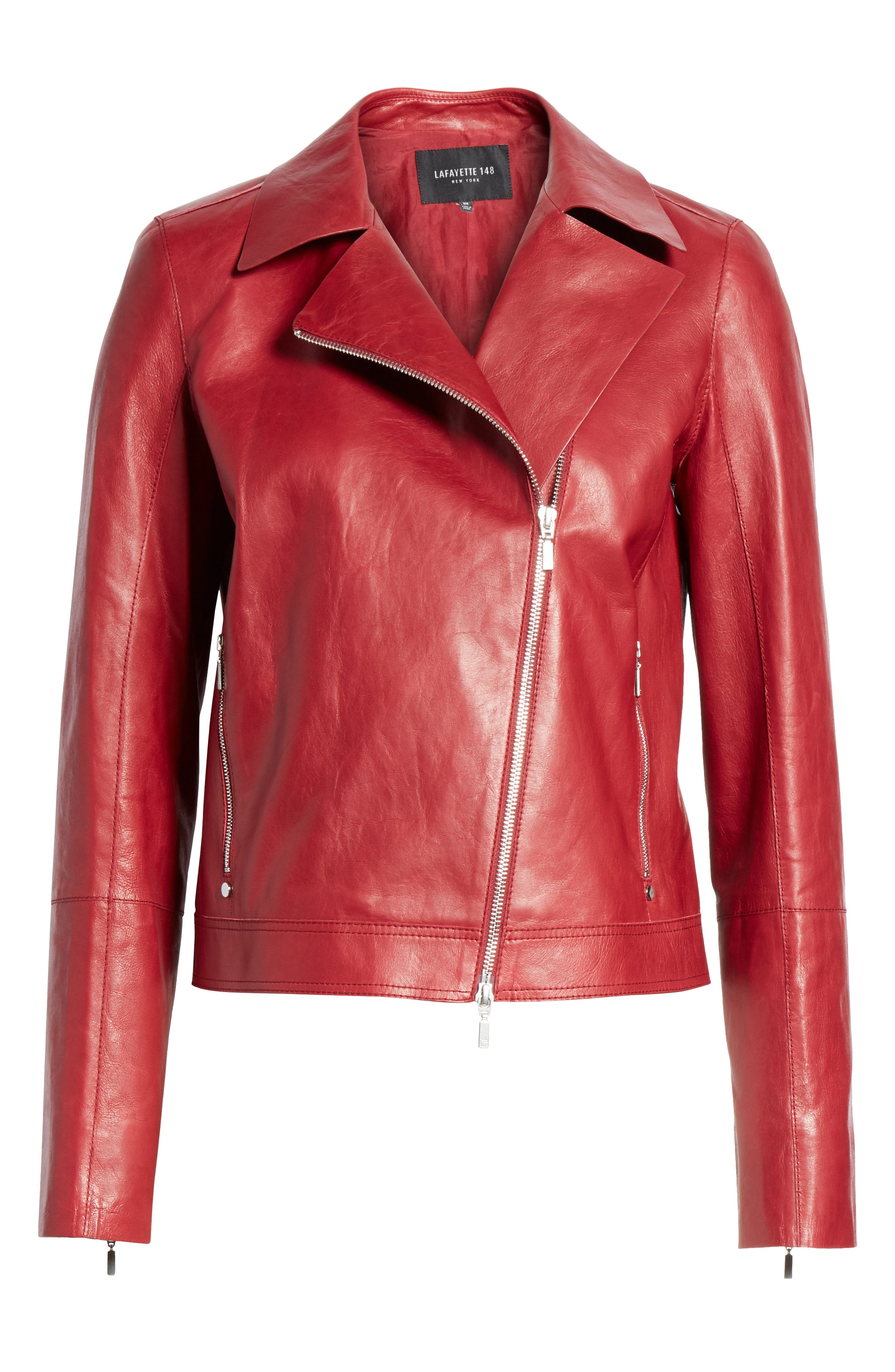 LAFAYETTE 148 NEW YORK, Marykate Leather Moto Jacket, Alternate thumbnail 5, color, 600