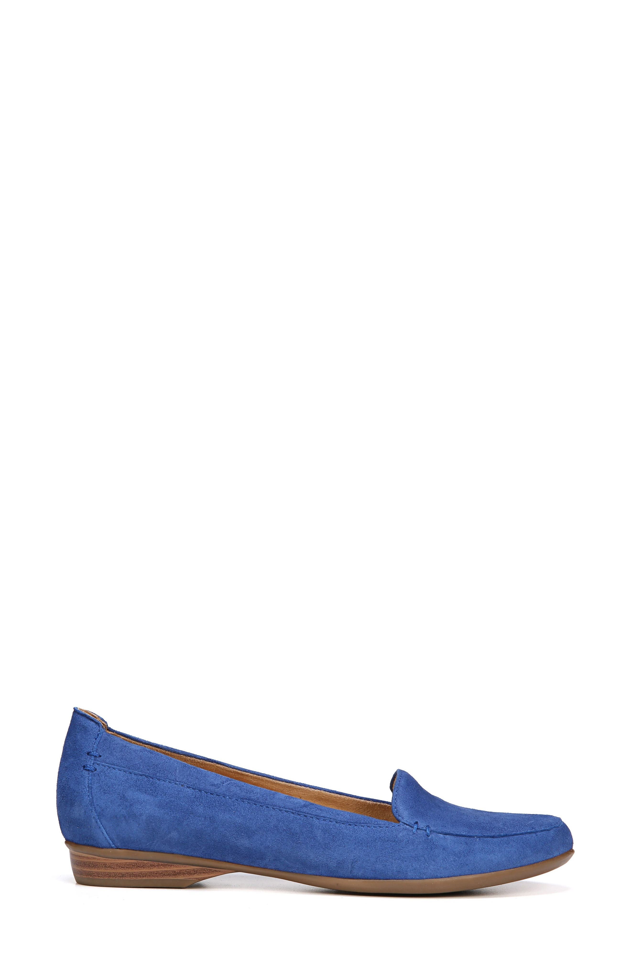 NATURALIZER, 'Saban' Leather Loafer, Alternate thumbnail 3, color, FRENCH BLUE SUEDE