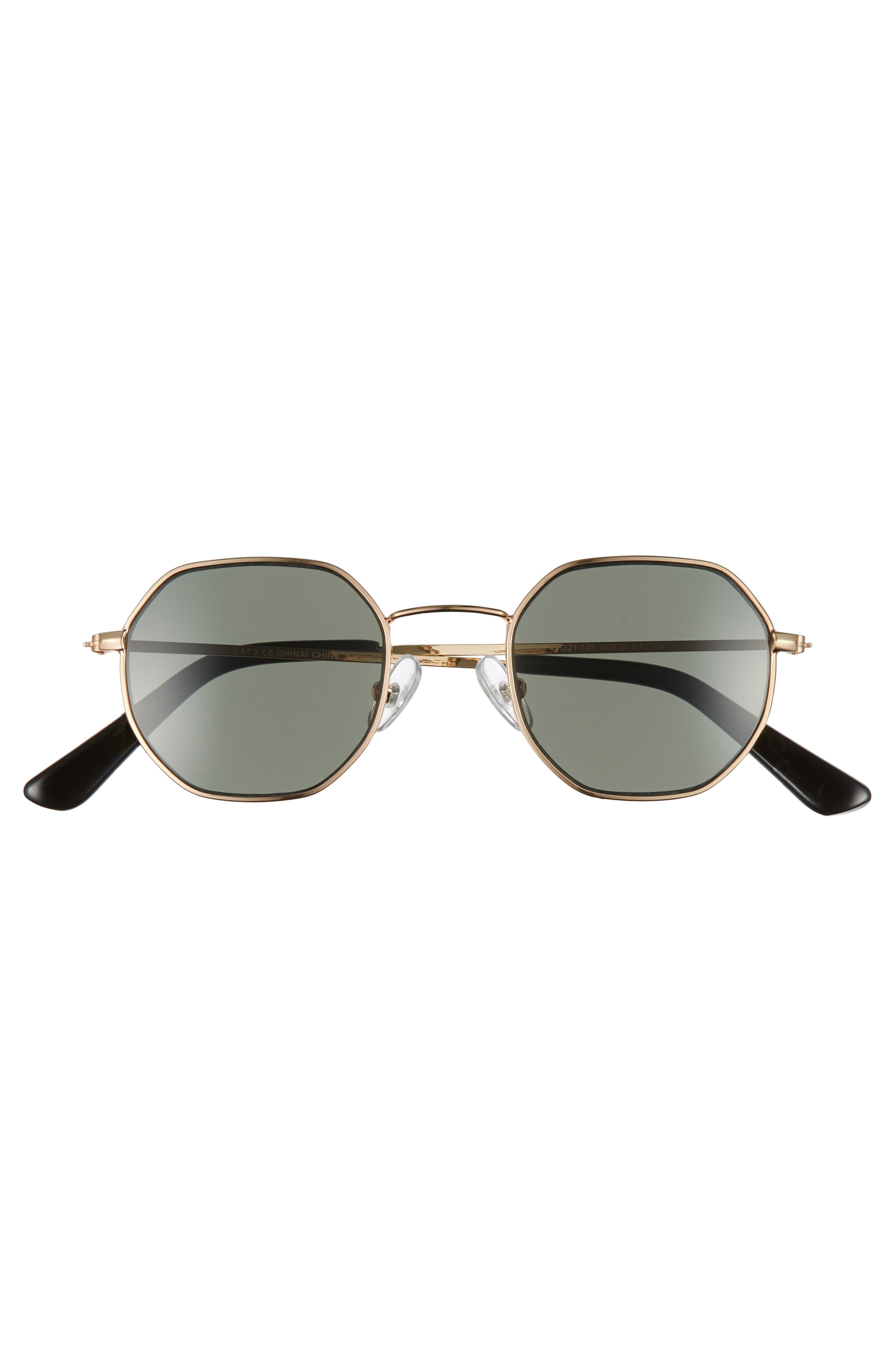 THE RAIL, Gino 45mm Round Sunglasses, Alternate thumbnail 2, color, GOLD/ GREEN