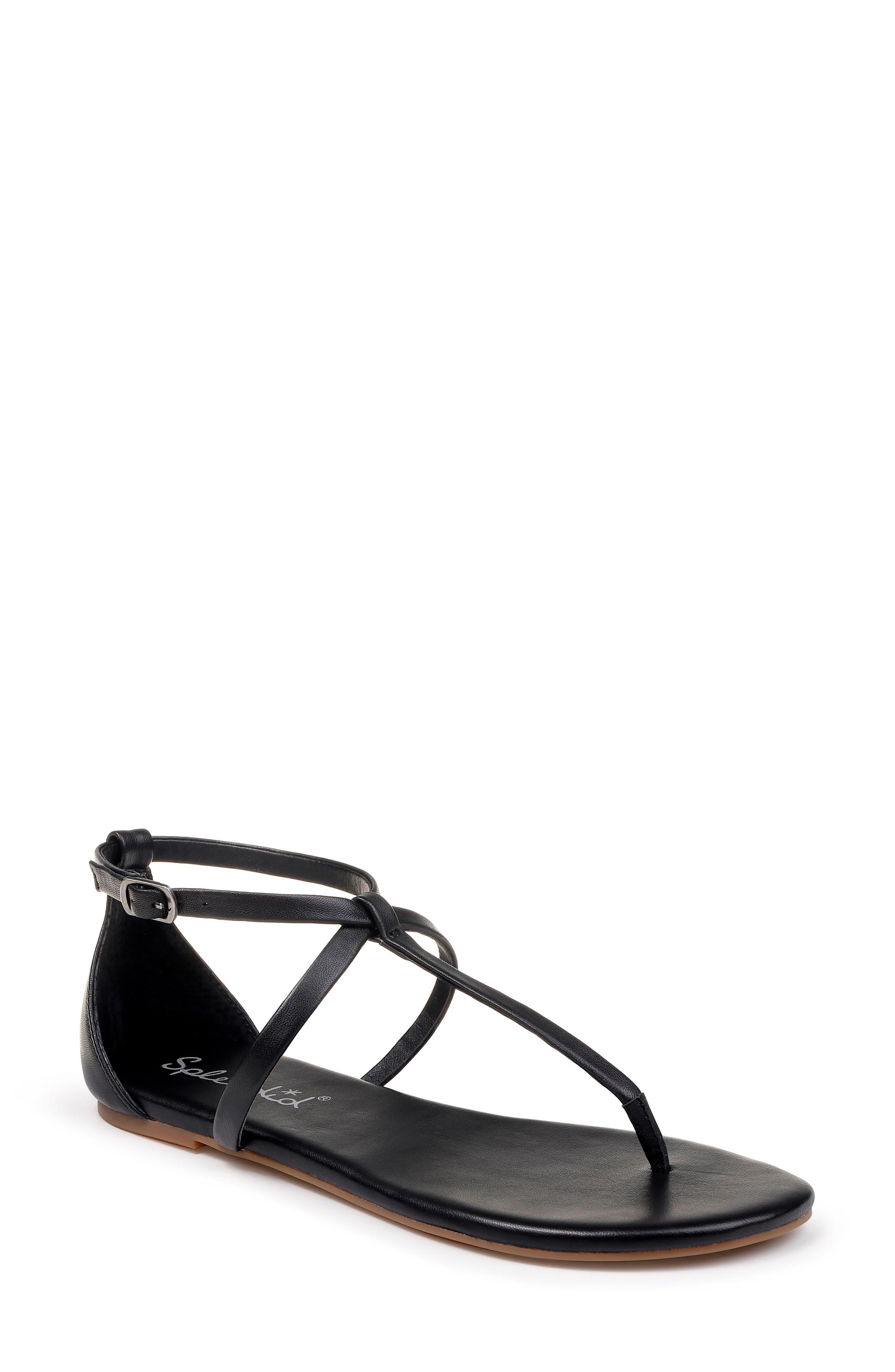 SPLENDID, Sundae T-Strap Sandal, Main thumbnail 1, color, BLACK LEATHER