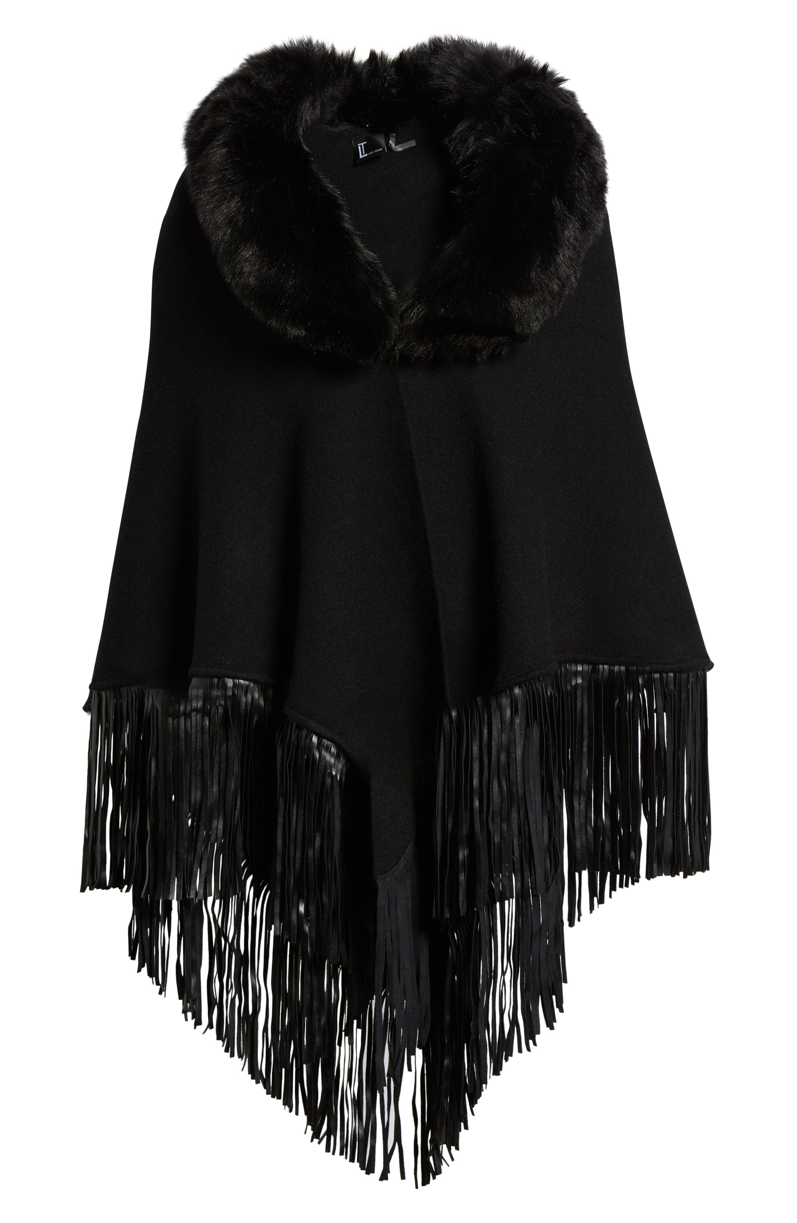 LOVE TOKEN, Fringe Poncho With Detachable Faux Fur Collar, Alternate thumbnail 6, color, 001