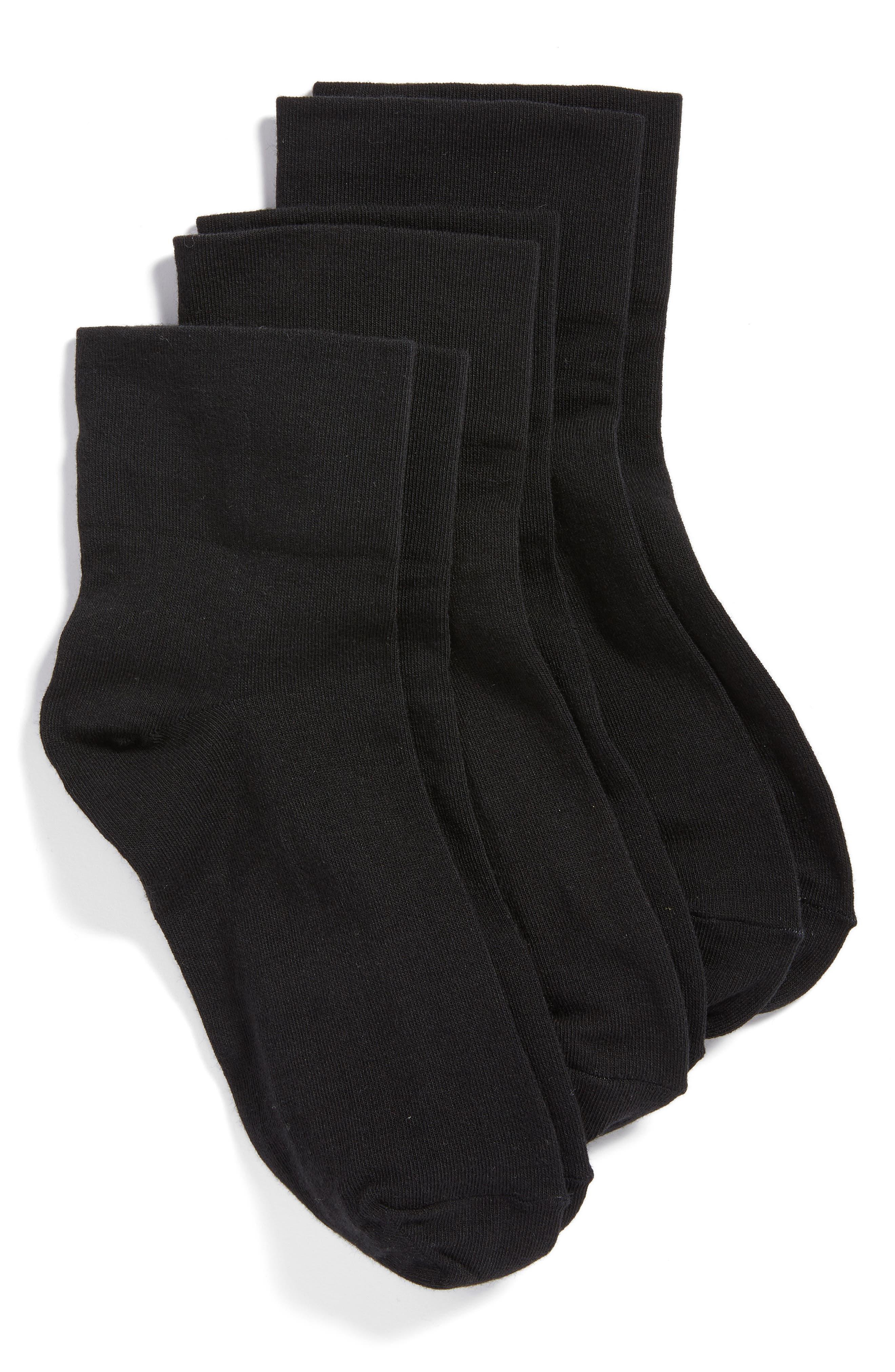 HUE, 3-Pack Cotton Blend Crew Socks, Main thumbnail 1, color, BLACK