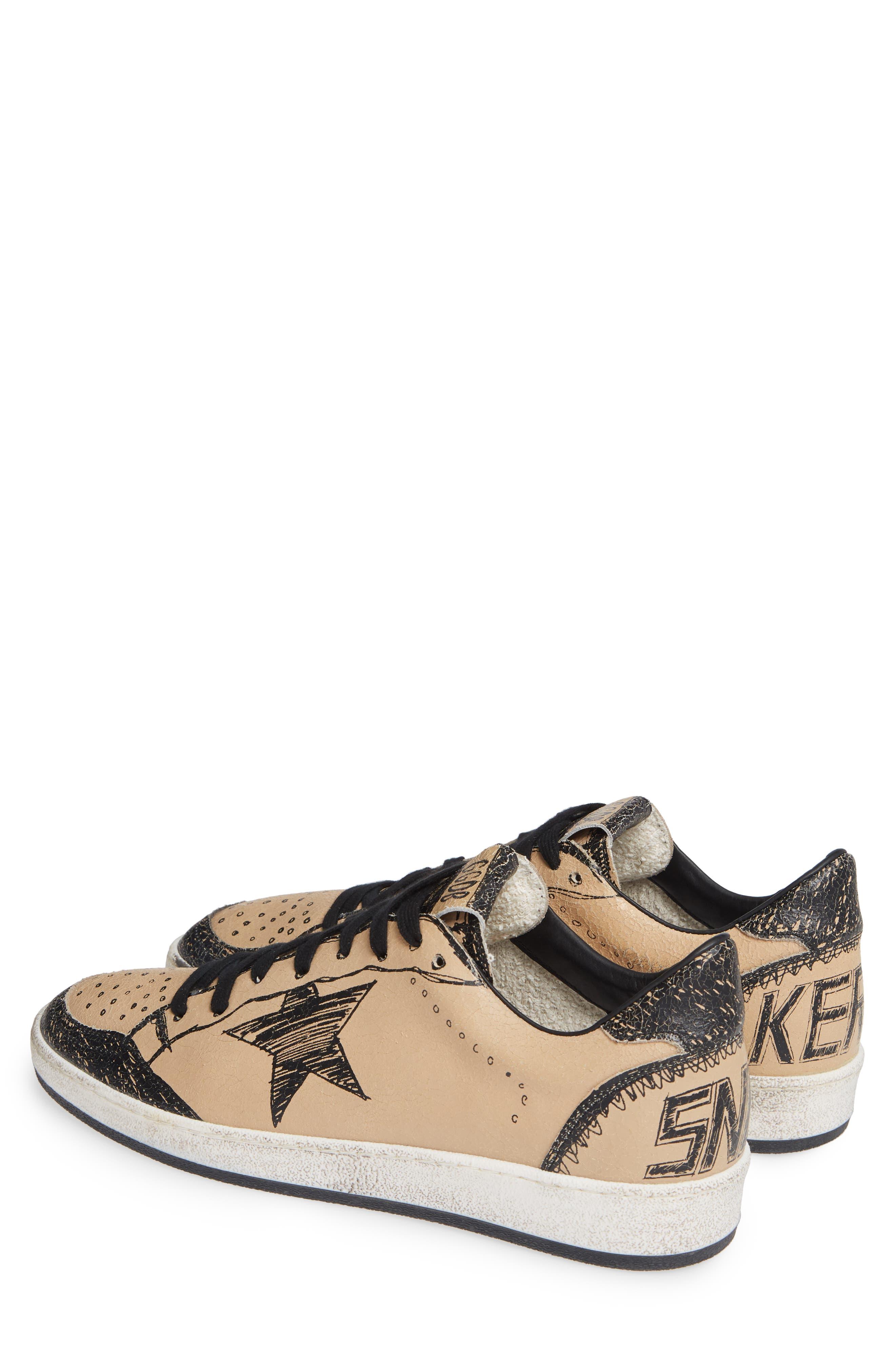 GOLDEN GOOSE, B-Ball Star Sneaker, Alternate thumbnail 2, color, BLACK DRAWING