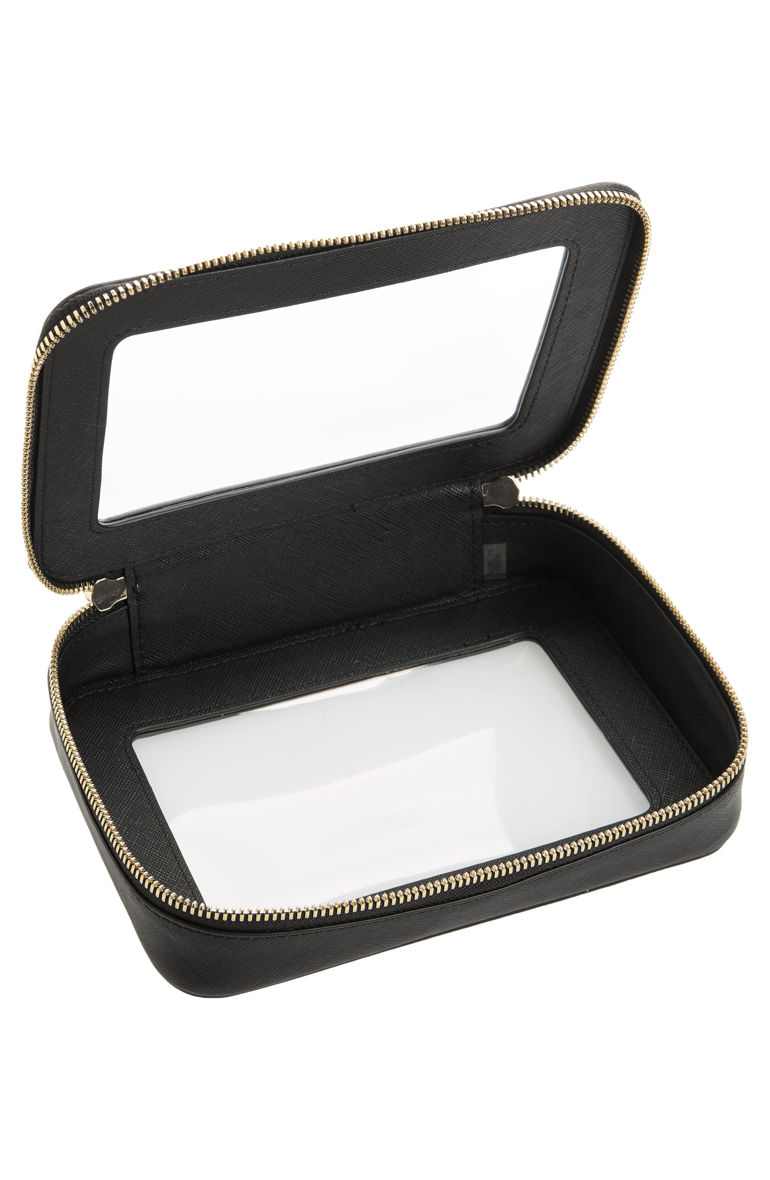 TRUFFLE, Clarity Jetset Cosmetics Case, Alternate thumbnail 3, color, BLACK