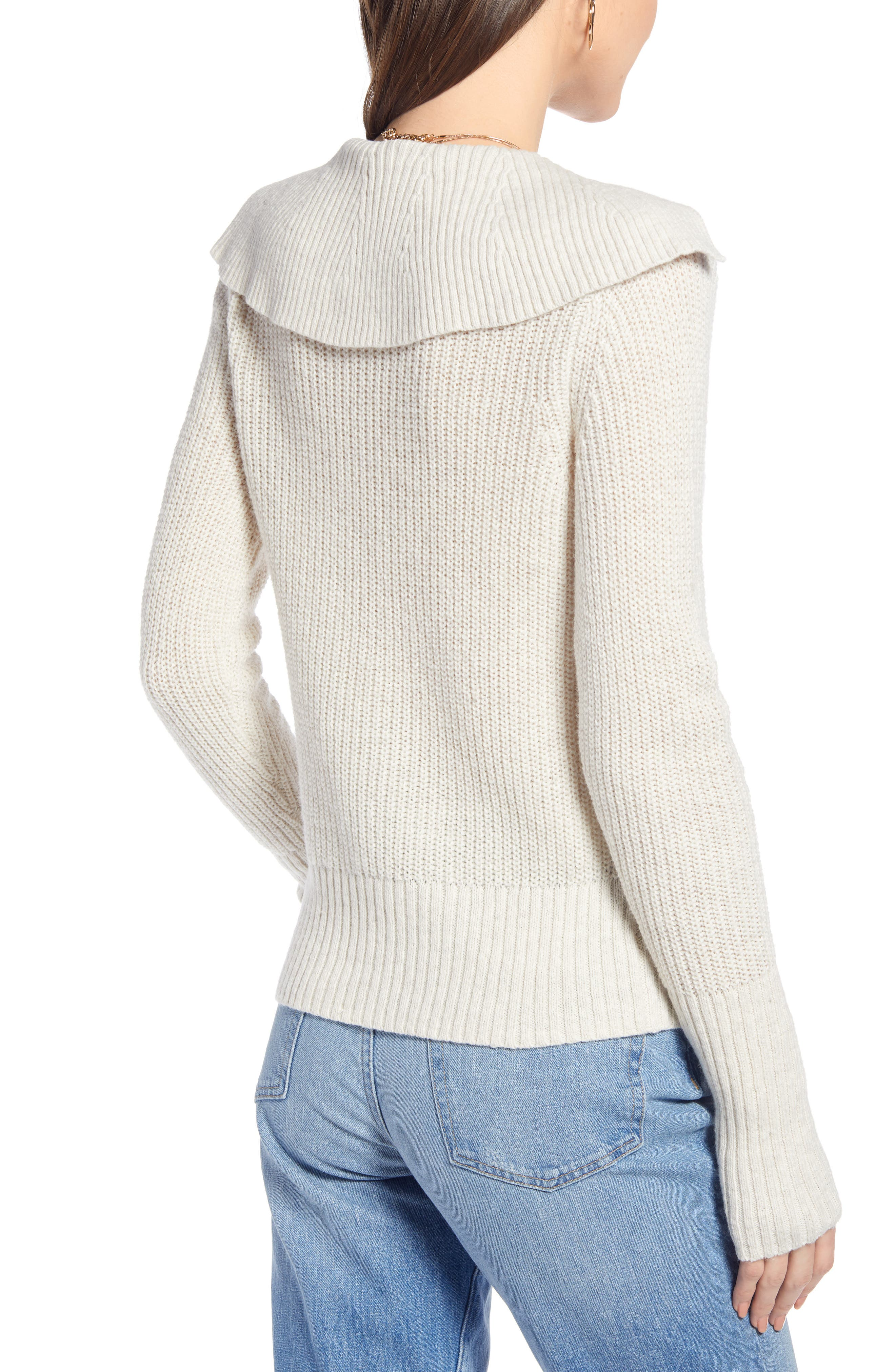 SOMETHING NAVY, V-Neck Polo Sweater, Alternate thumbnail 4, color, BEIGE OATMEAL LIGHT HEATHER