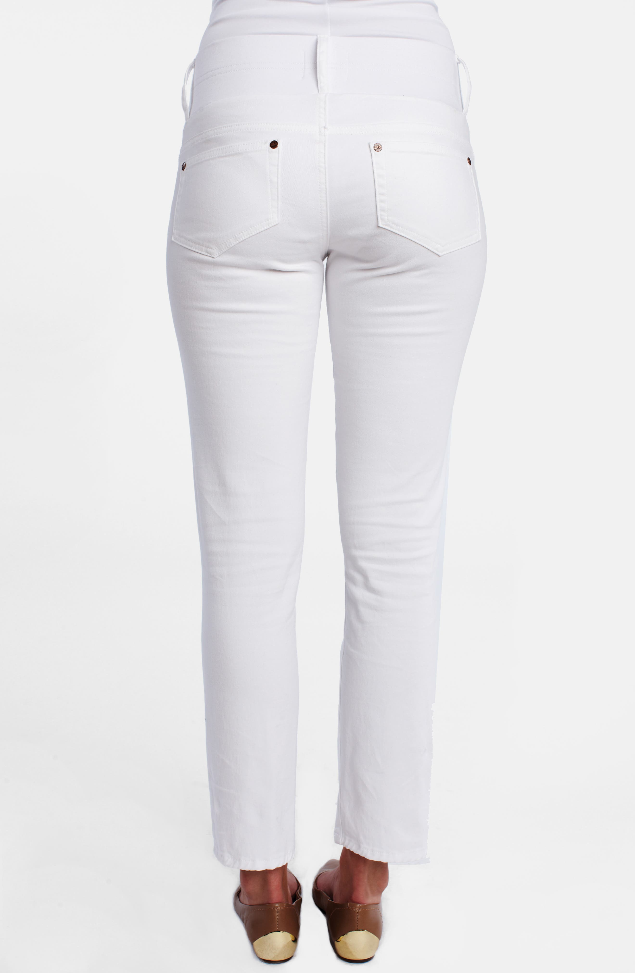 MATERNAL AMERICA, Maternity Skinny Ankle Stretch Jeans, Alternate thumbnail 4, color, 100
