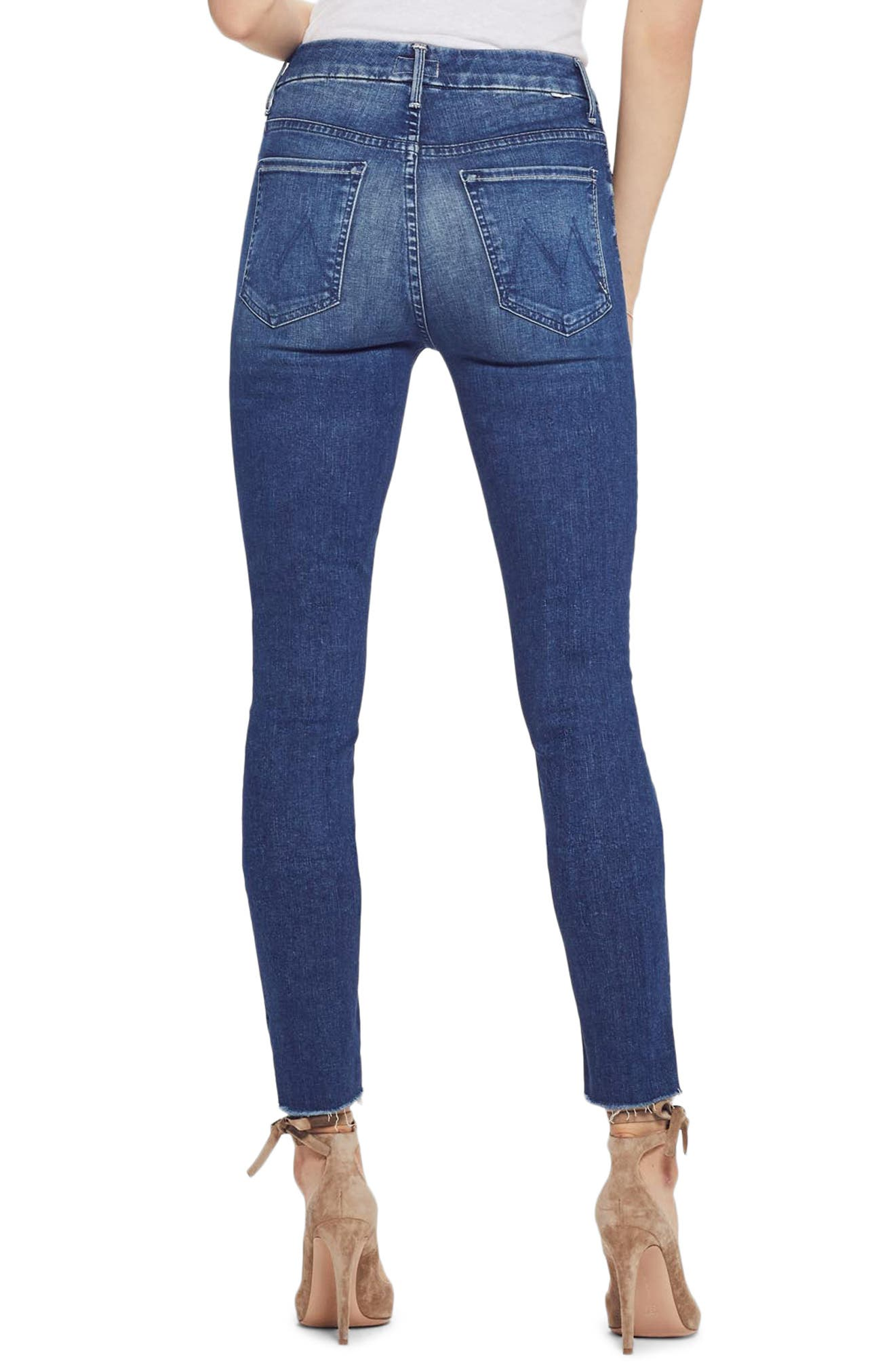 MOTHER, The Looker High Waist Frayed Ankle Skinny Jeans, Alternate thumbnail 2, color, LURE ME IN