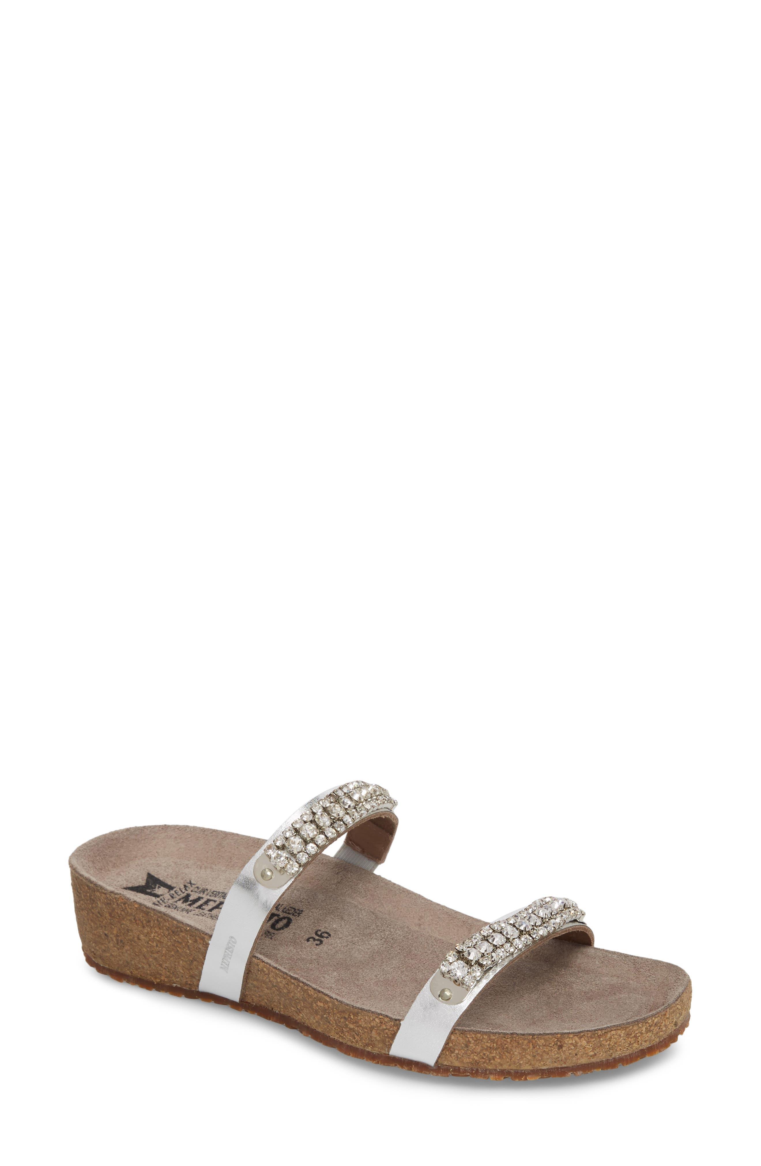 MEPHISTO, 'Ivana' Crystal Embellished Slide Sandal, Main thumbnail 1, color, NICKEL LEATHER