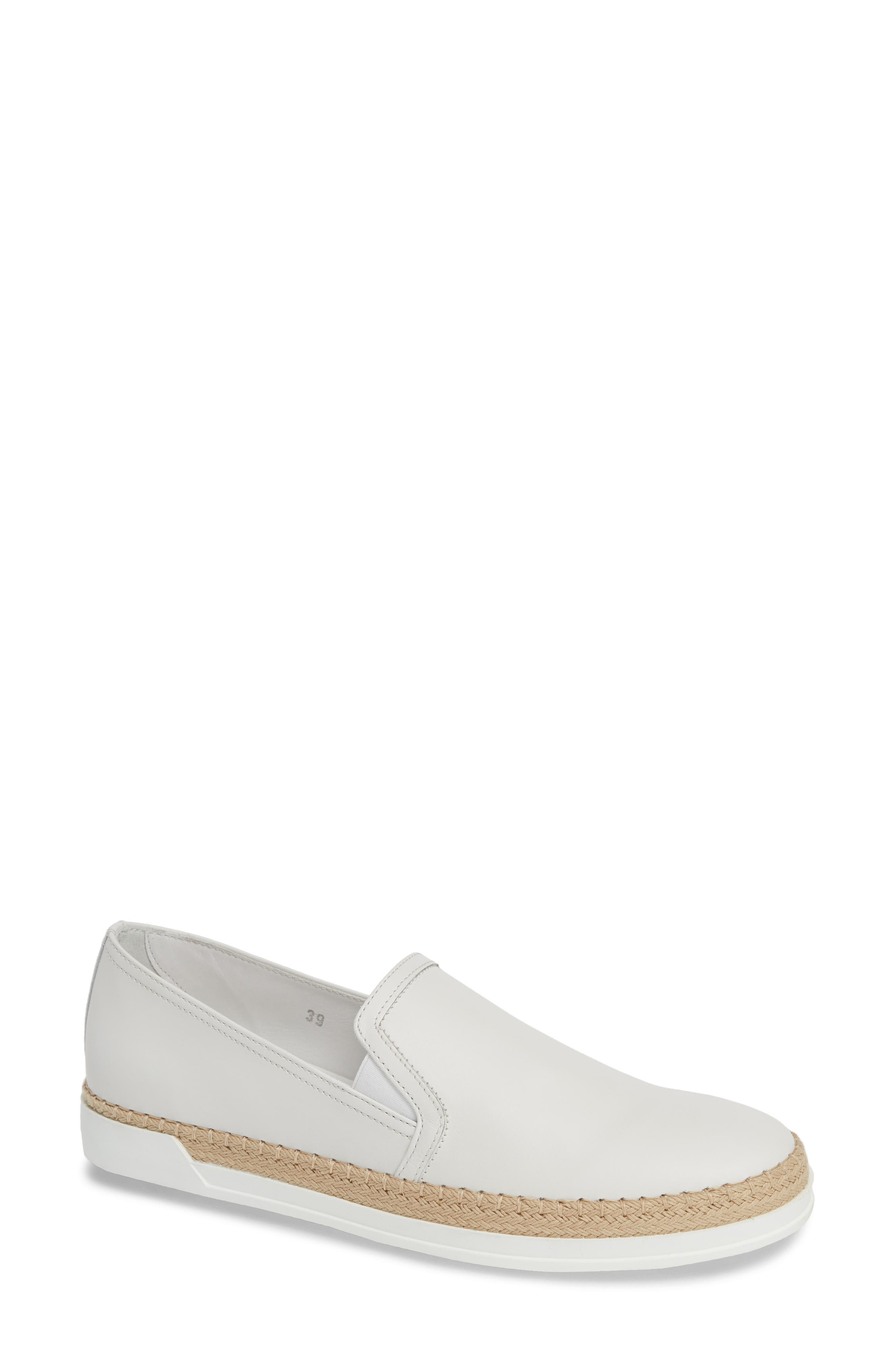 TOD'S, Espadrille Slip-On Sneaker, Main thumbnail 1, color, WHITE LEATHER