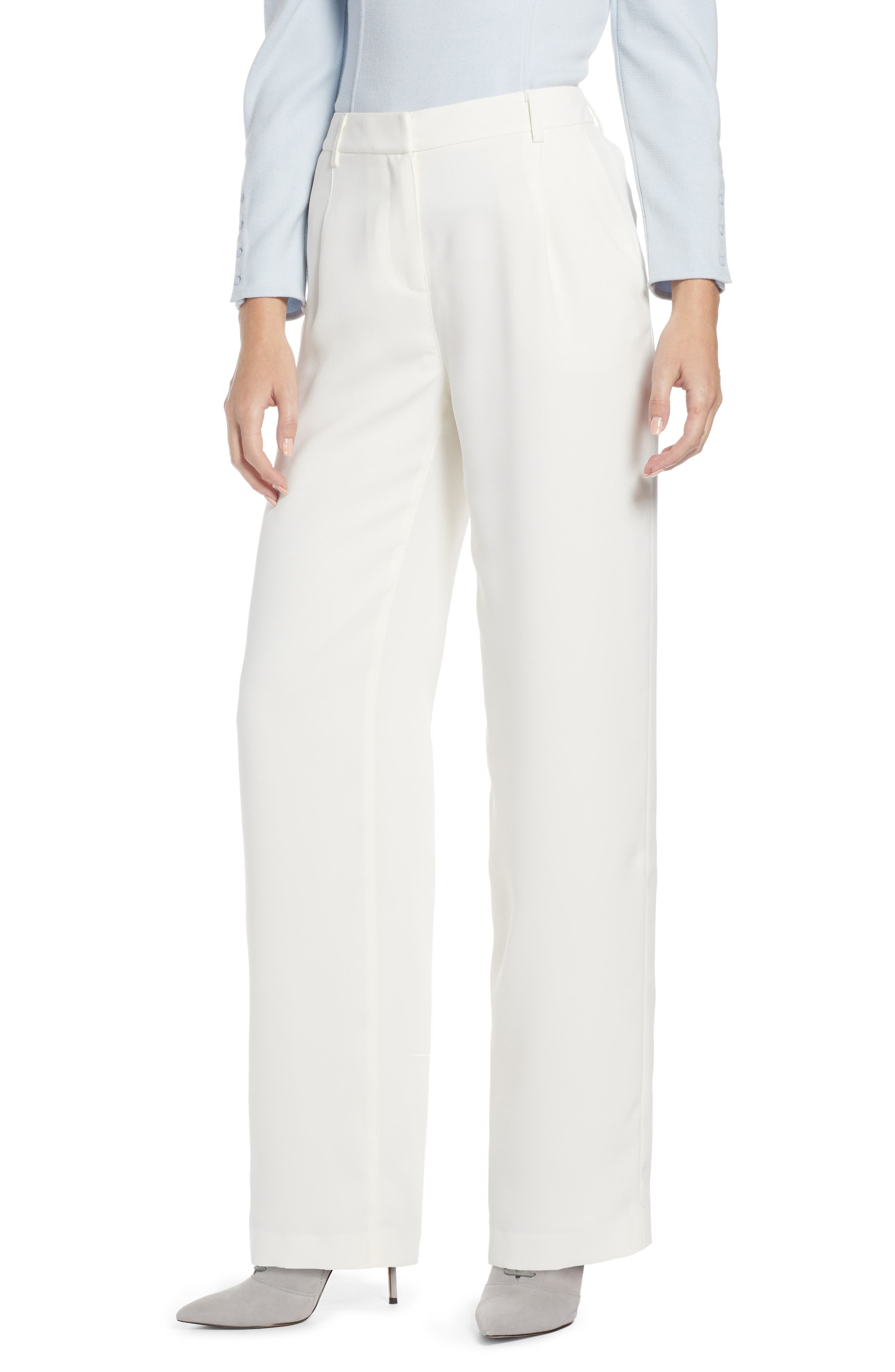 SOMETHING NAVY, Pleated Wide Leg Trousers, Main thumbnail 1, color, IVORY