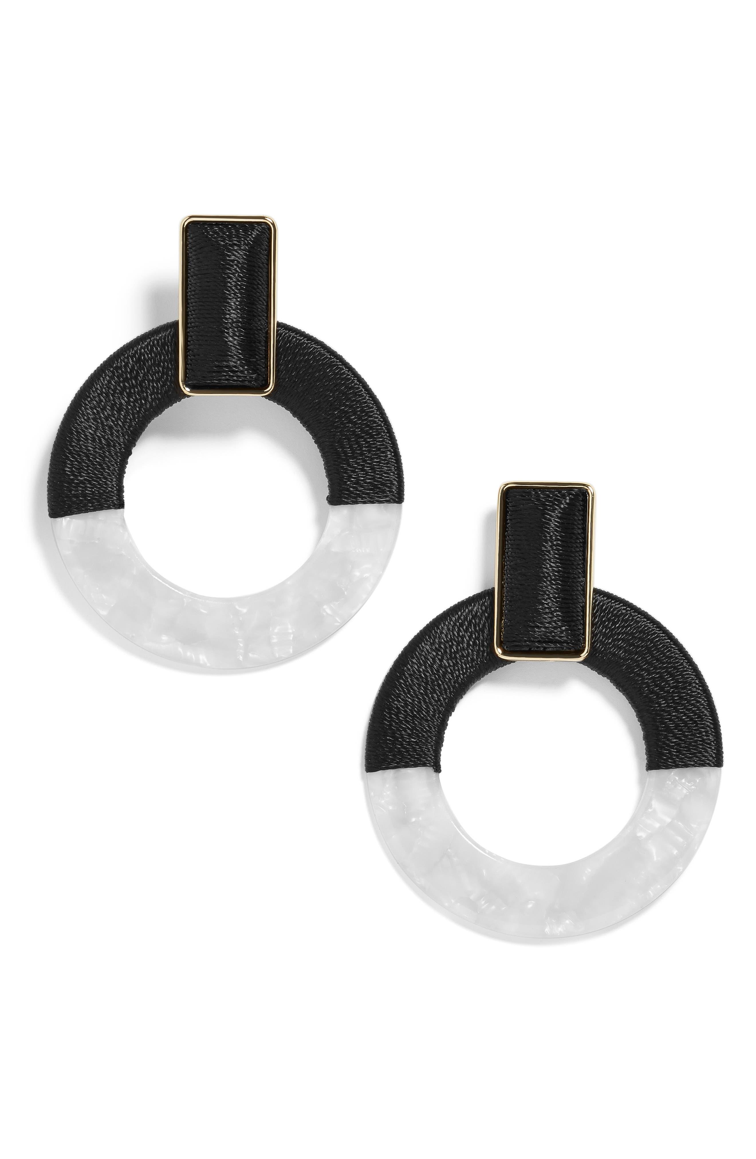 BAUBLEBAR, Emelda Two Tone Circle Drop Earrings, Main thumbnail 1, color, BLACK/ WHITE