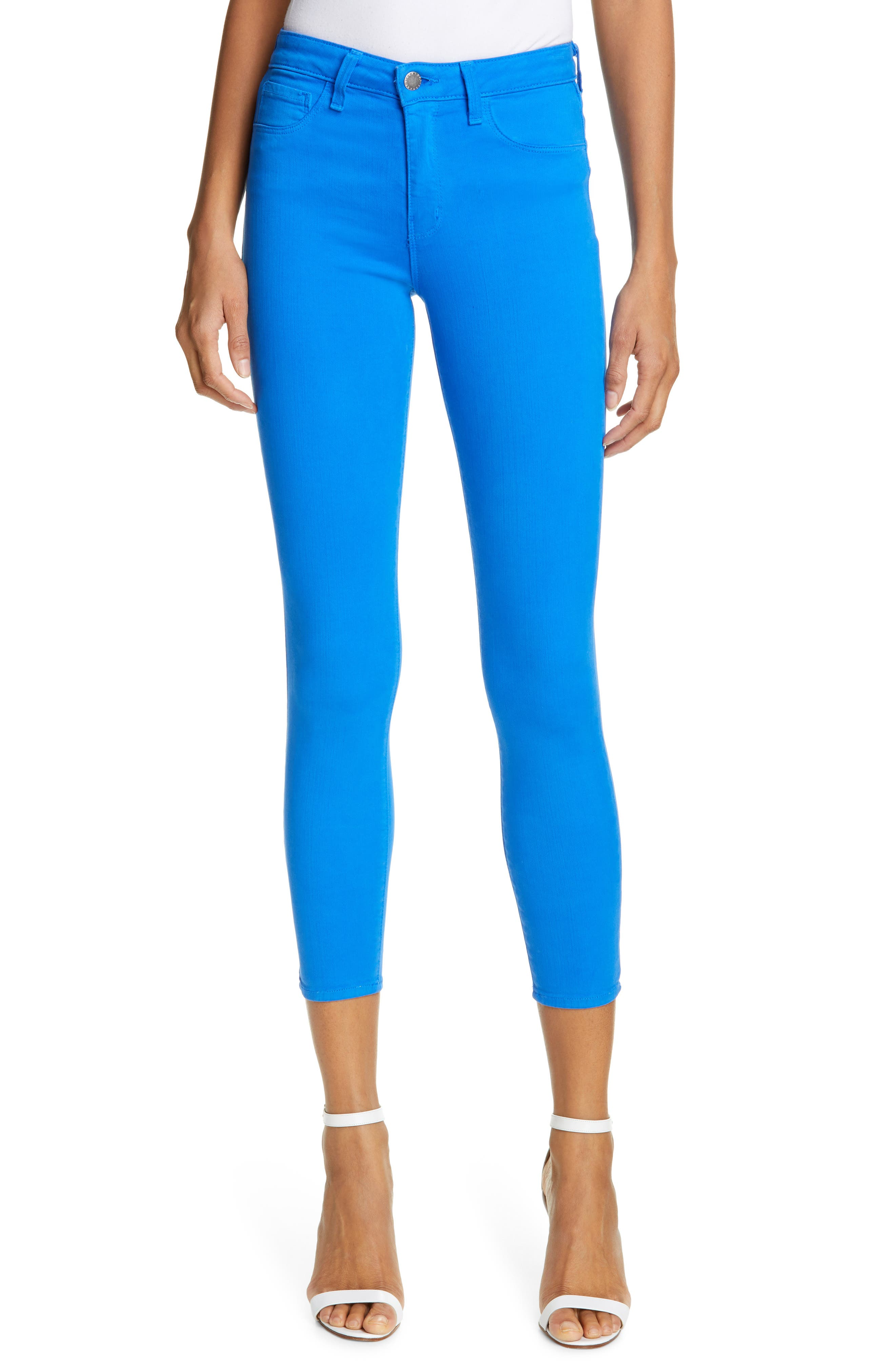 L'AGENCE, High Waist Skinny Ankle Jeans, Main thumbnail 1, color, RIVIERA BLUE