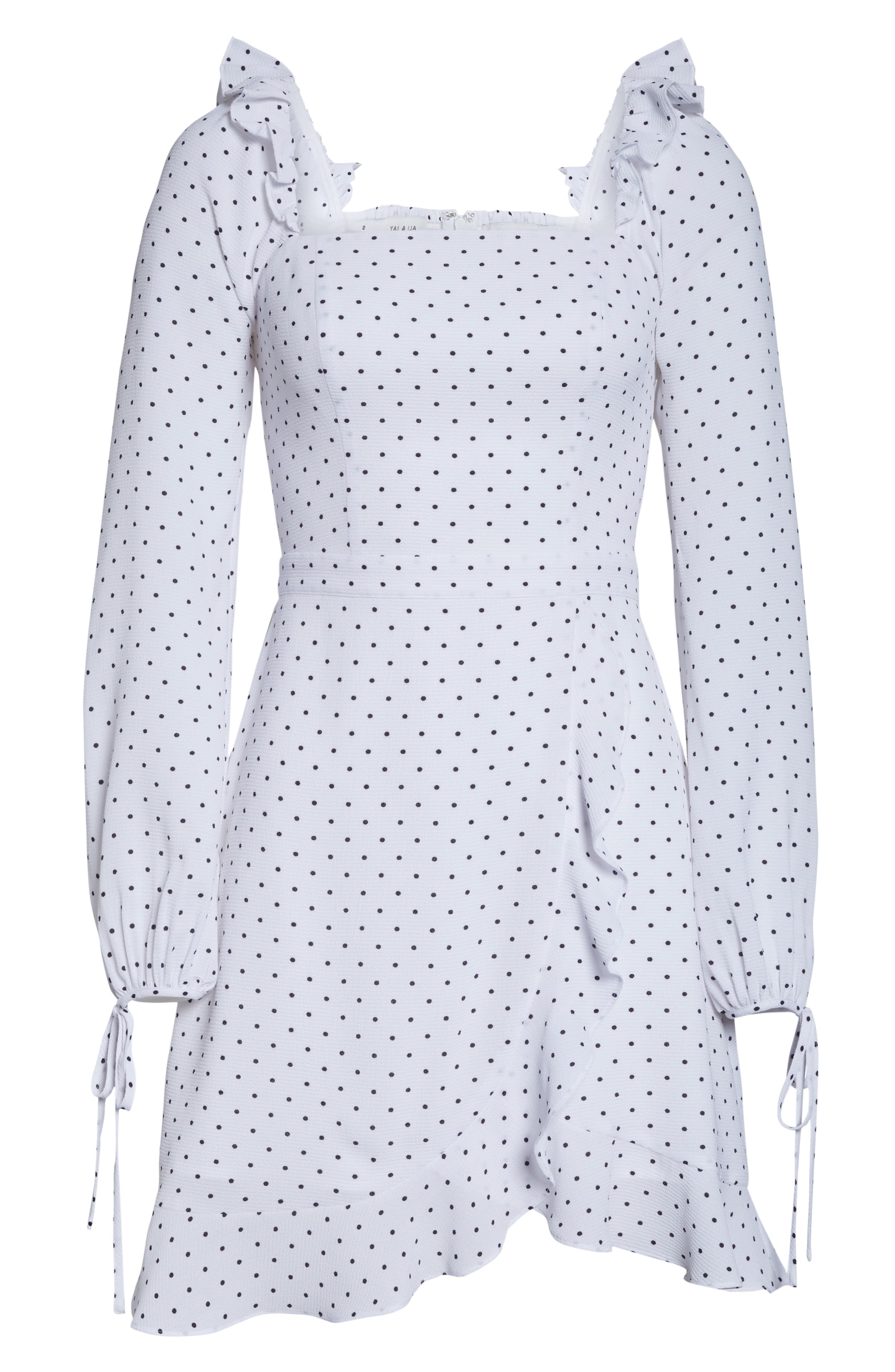 ALI & JAY, In Bloom Polka Dot Asymmetrical Dress, Alternate thumbnail 7, color, 100