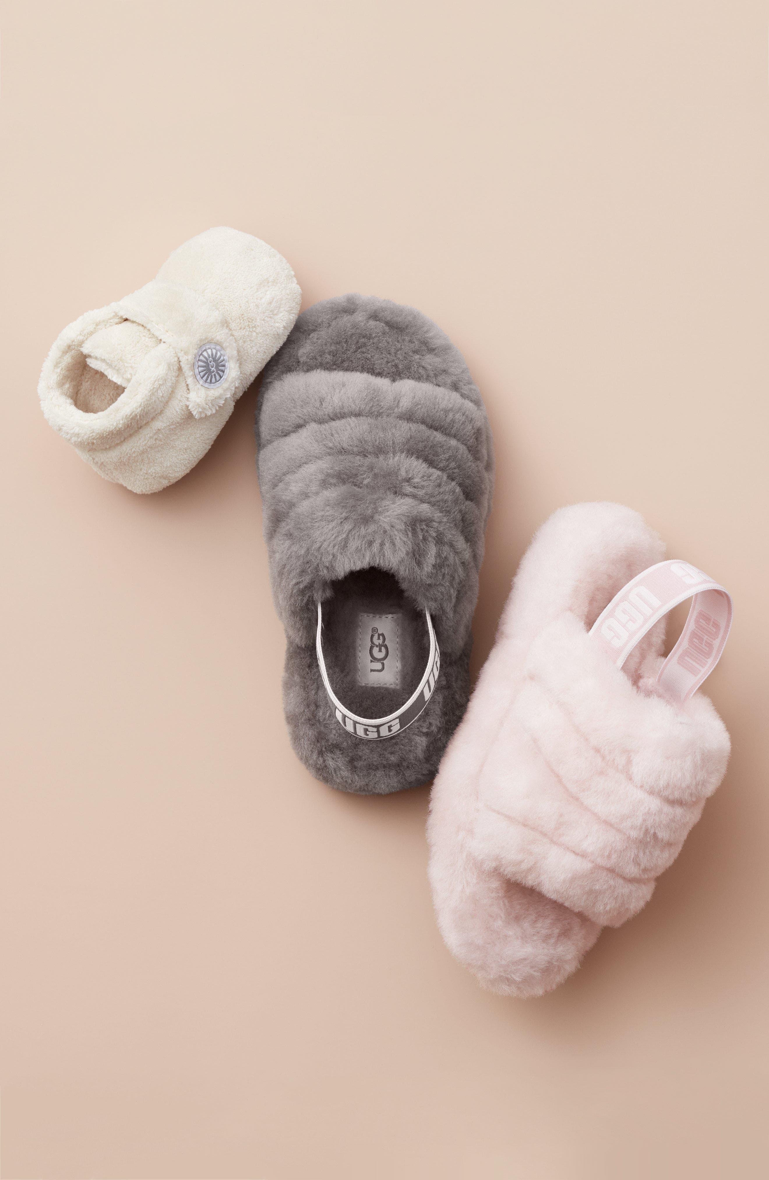 UGG<SUP>®</SUP>, Fluff Yeah Genuine Shearling Slide Sandal, Alternate thumbnail 6, color, BLACK