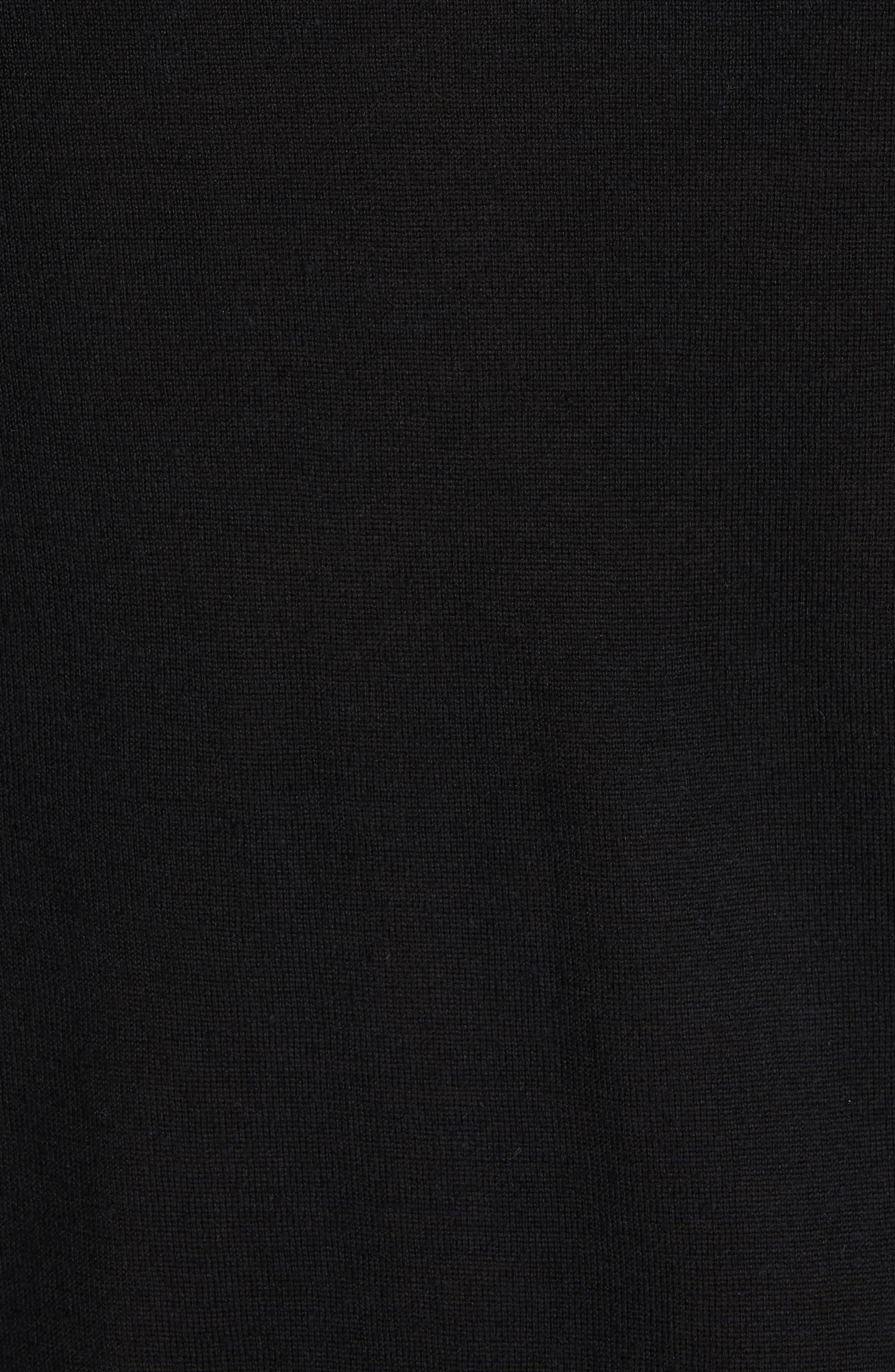 HELMUT LANG, Back Logo Wool & Silk Sweatshirt, Alternate thumbnail 5, color, BLACK