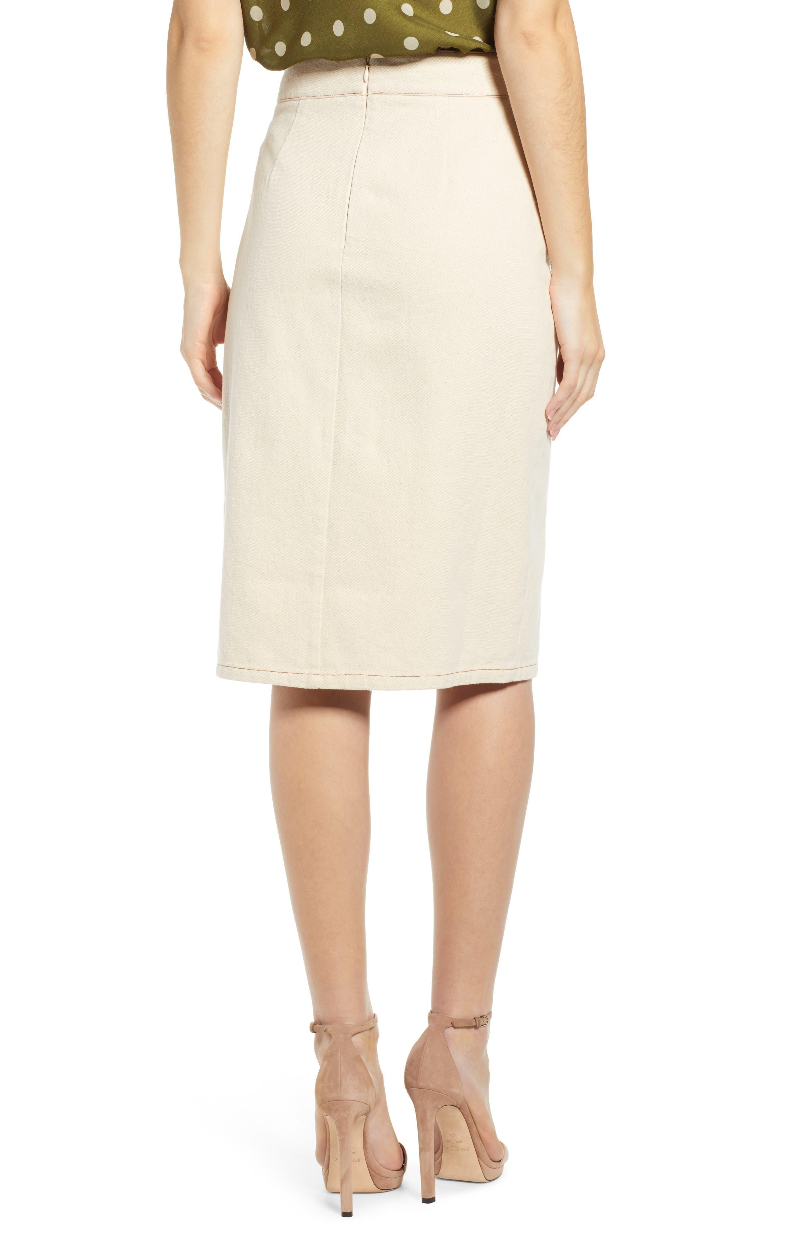 CHRISELLE LIM COLLECTION, Chriselle Lim Marine Midi Skirt, Alternate thumbnail 2, color, BONE