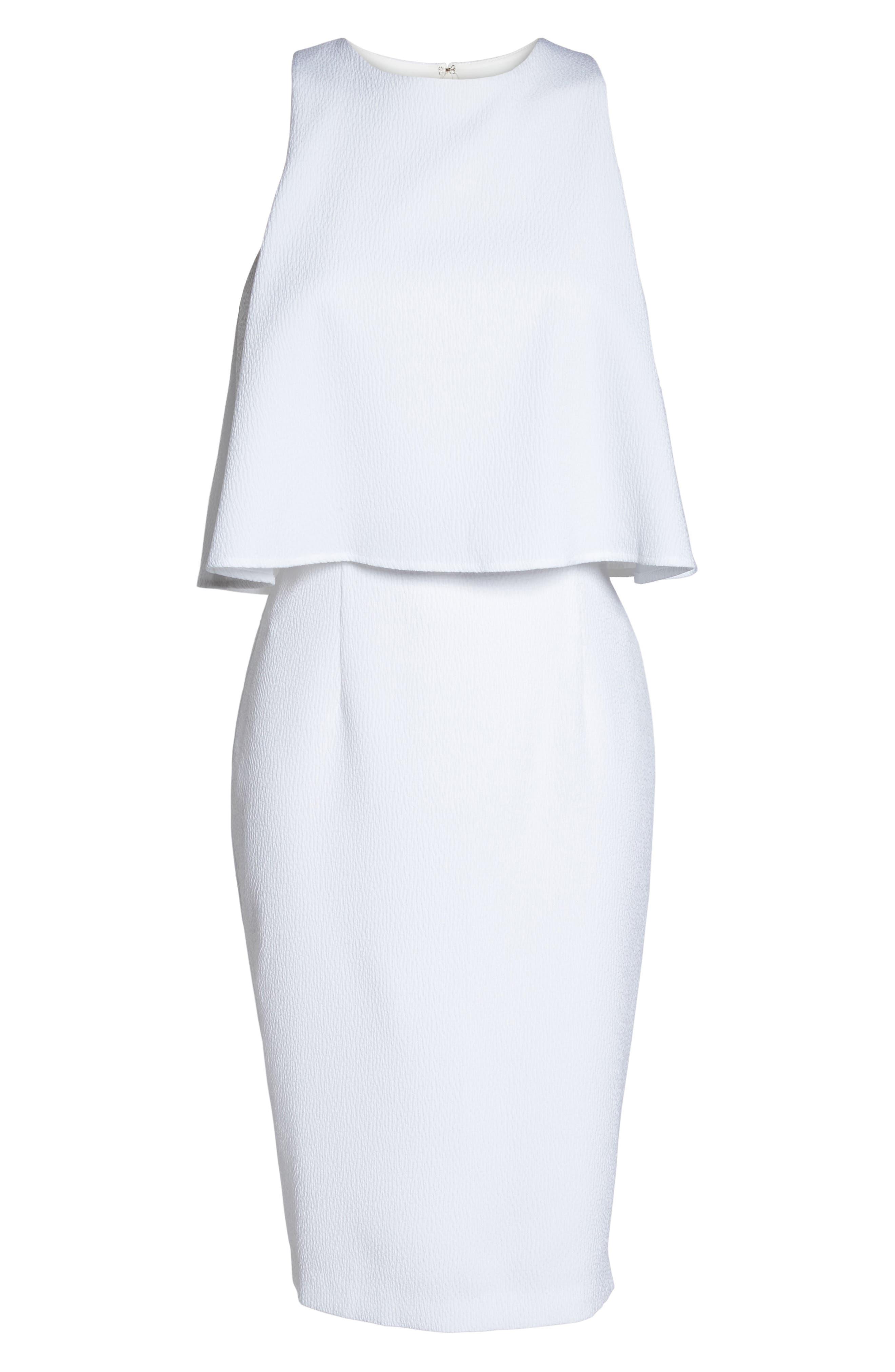 CHELSEA28, Popover Crop Sheath Dress, Alternate thumbnail 7, color, WHITE SNOW