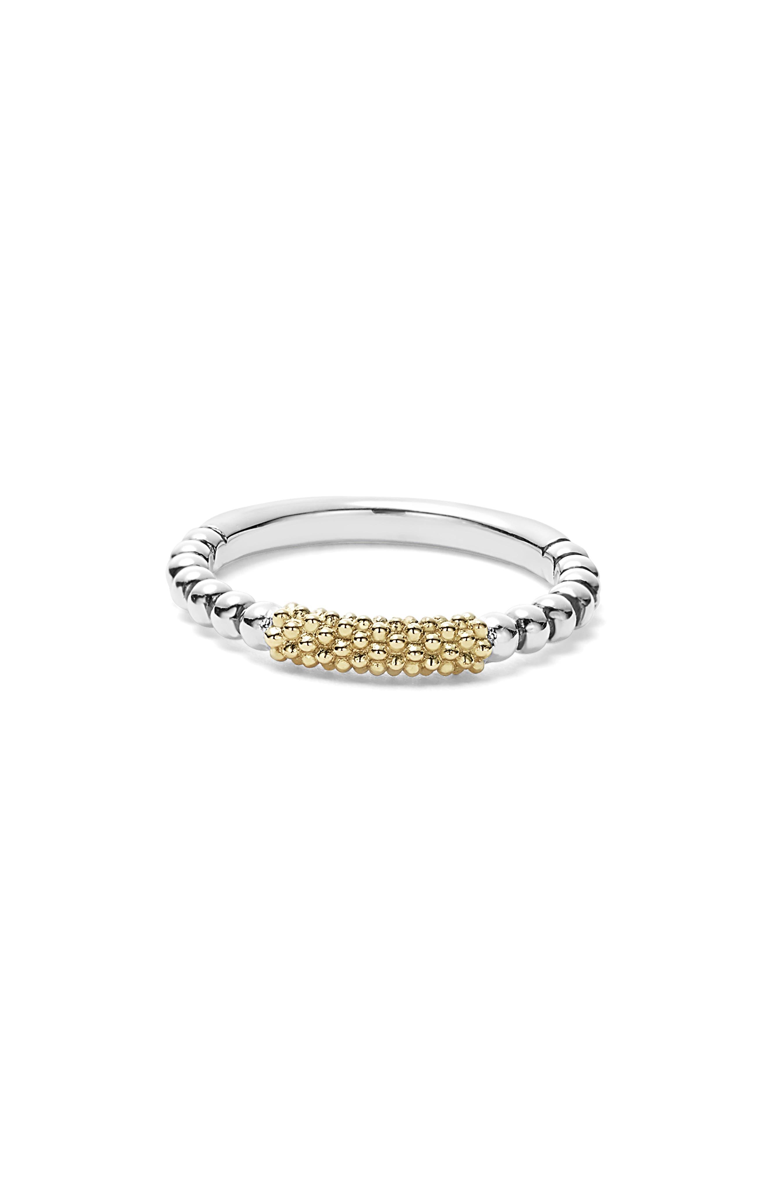 LAGOS, 'Caviar Icon' Stacking Ring, Alternate thumbnail 3, color, SILVER/ GOLD