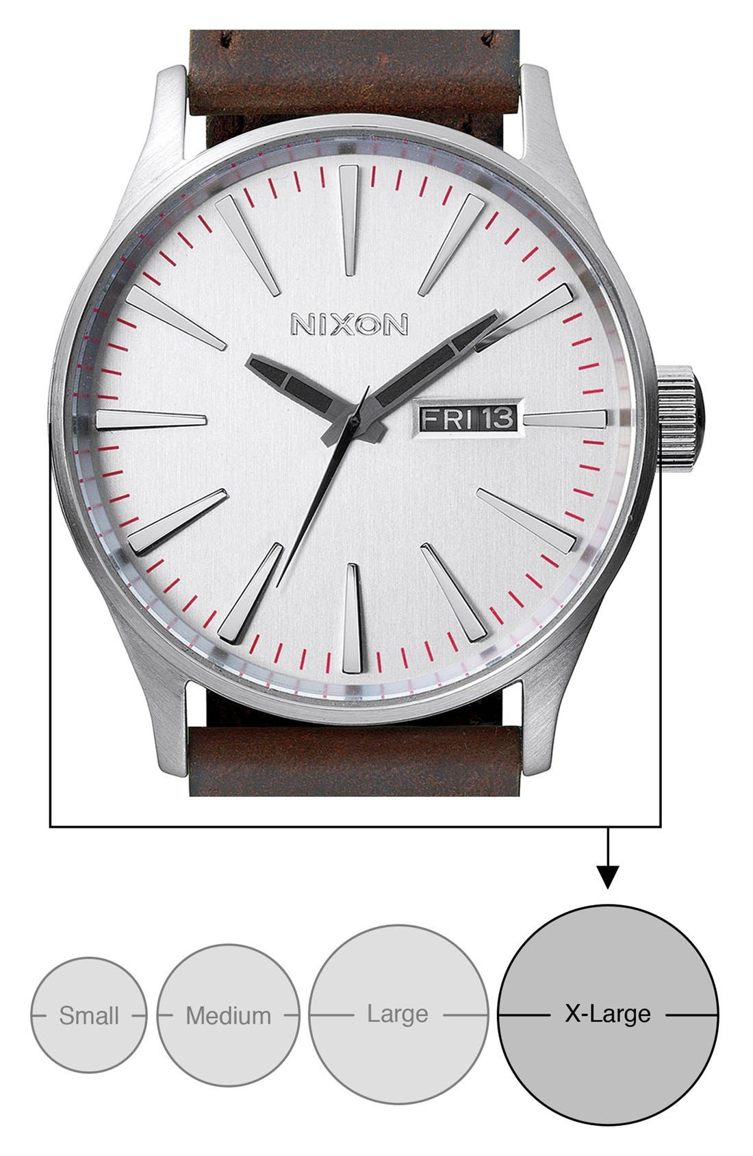 NIXON, The Sentry Leather Strap Watch, 42mm, Alternate thumbnail 4, color, SILVER/ BROWN