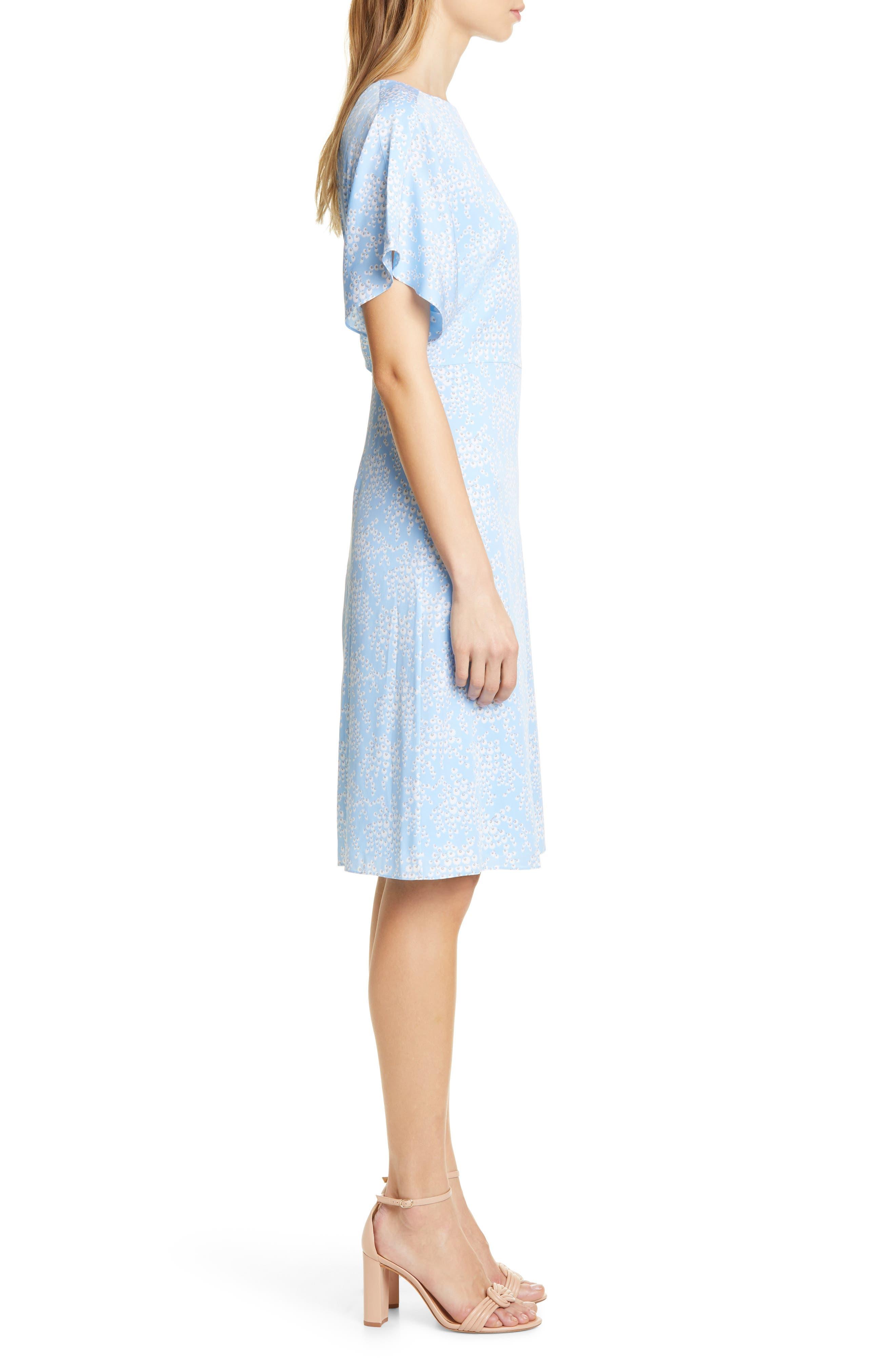 LEWIT, Kimono Sleeve Stretch Silk Dress, Alternate thumbnail 4, color, BLUE SIDDAL FLORAL