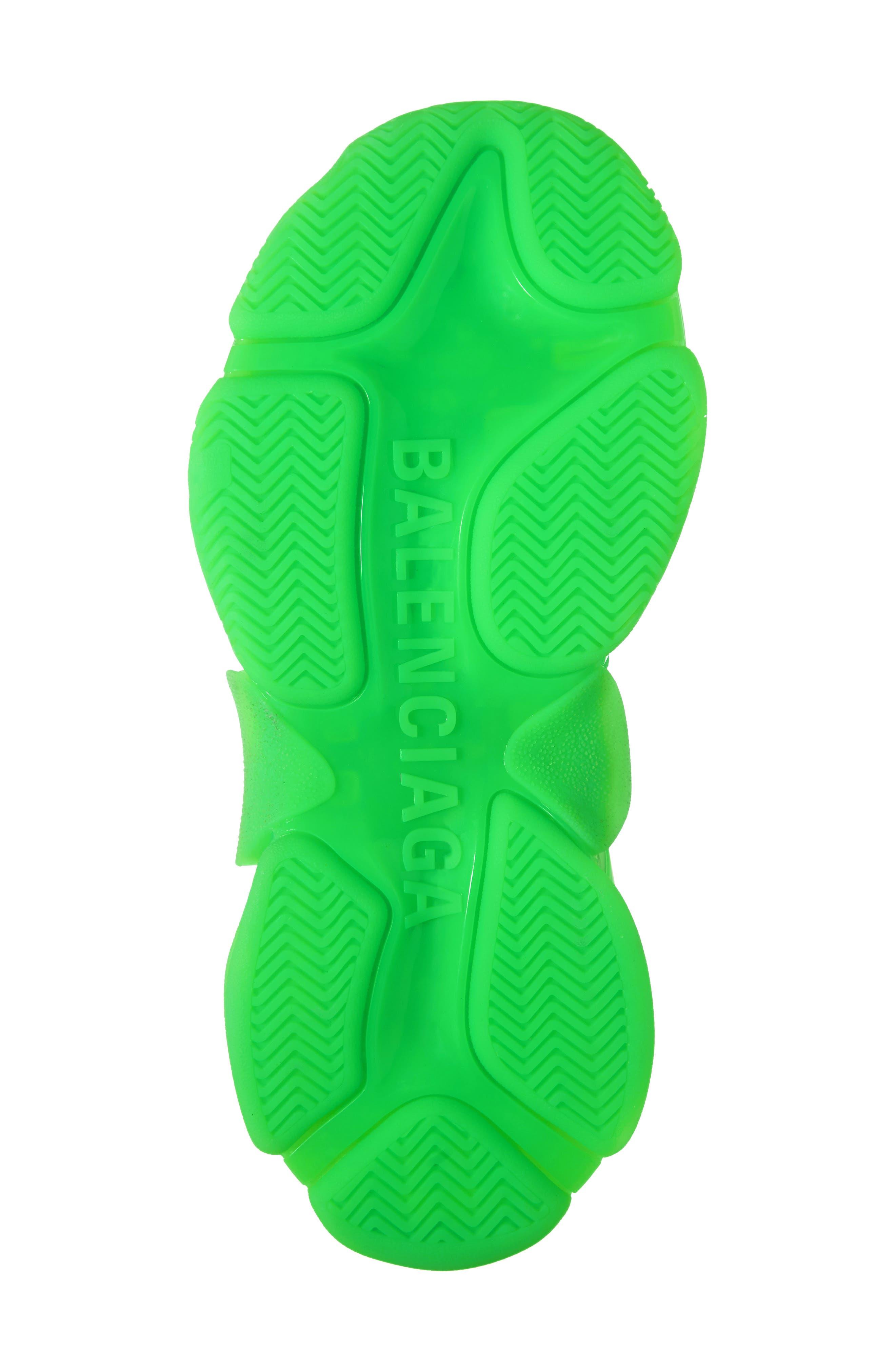 BALENCIAGA, Triple S Low Top Sneaker, Alternate thumbnail 6, color, GREEN FLUO