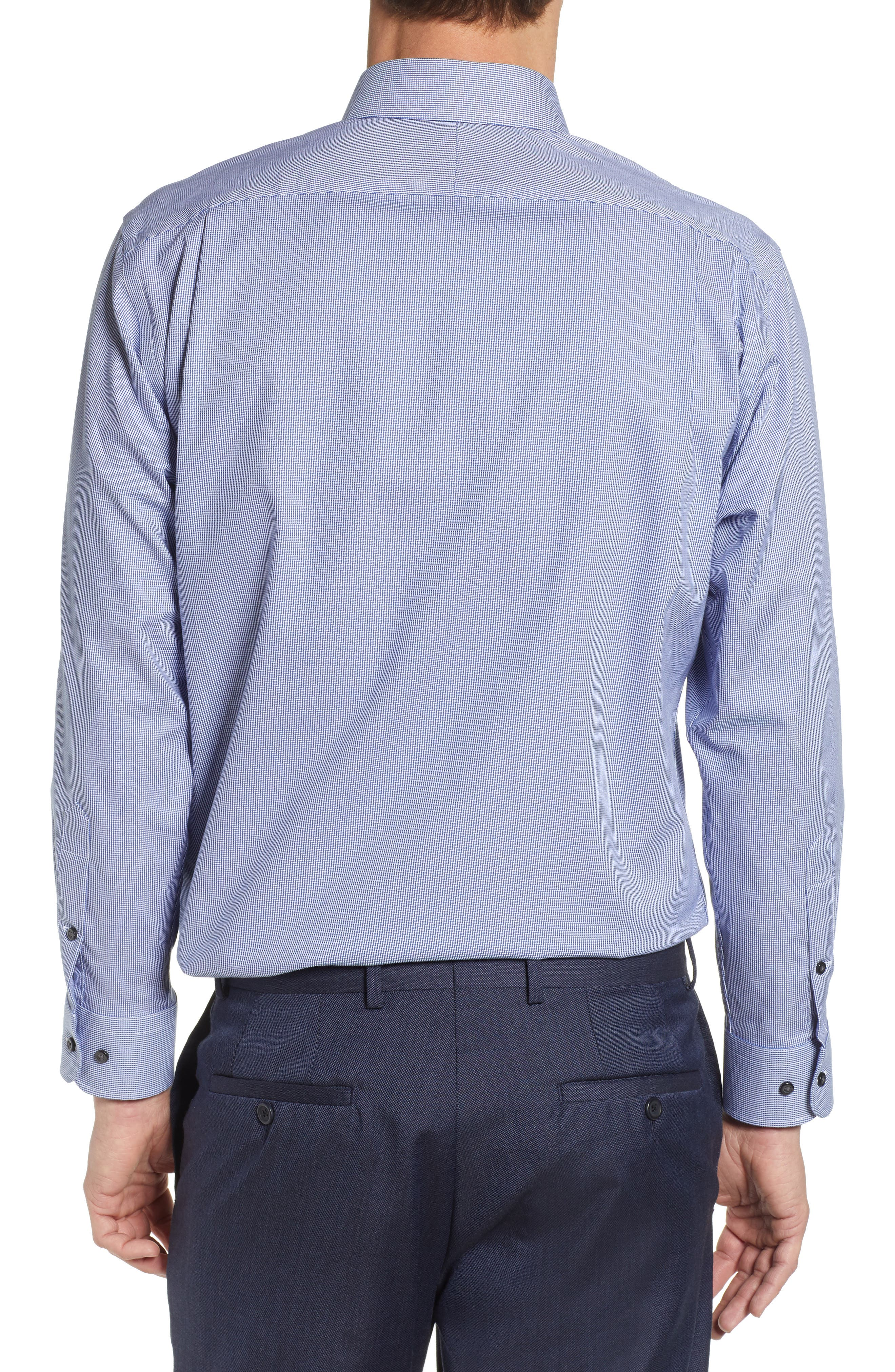NORDSTROM MEN'S SHOP, Traditional Fit Non-Iron Solid Dress Shirt, Alternate thumbnail 3, color, NAVY DRESS