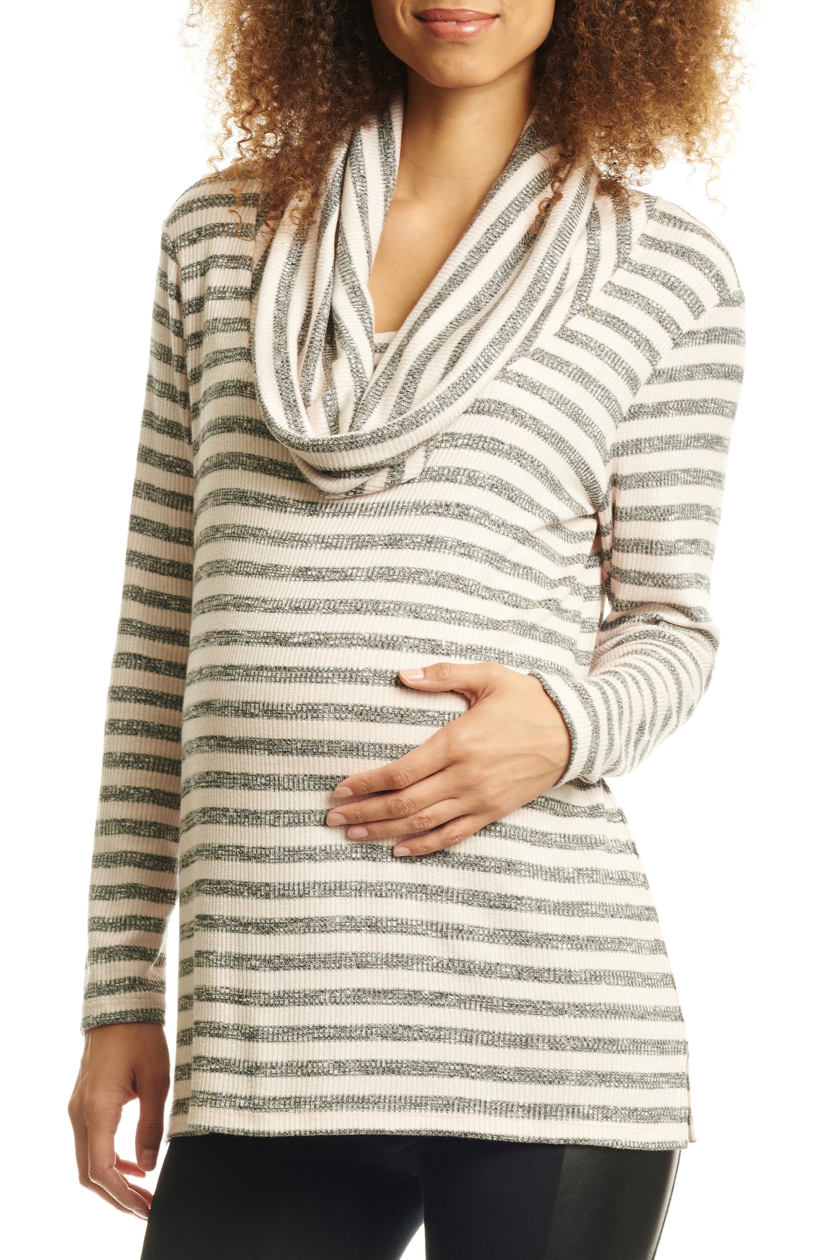 EVERLY GREY, Reina Cowl Neck Maternity/Nursing Top, Main thumbnail 1, color, CHARCOAL STRIPE