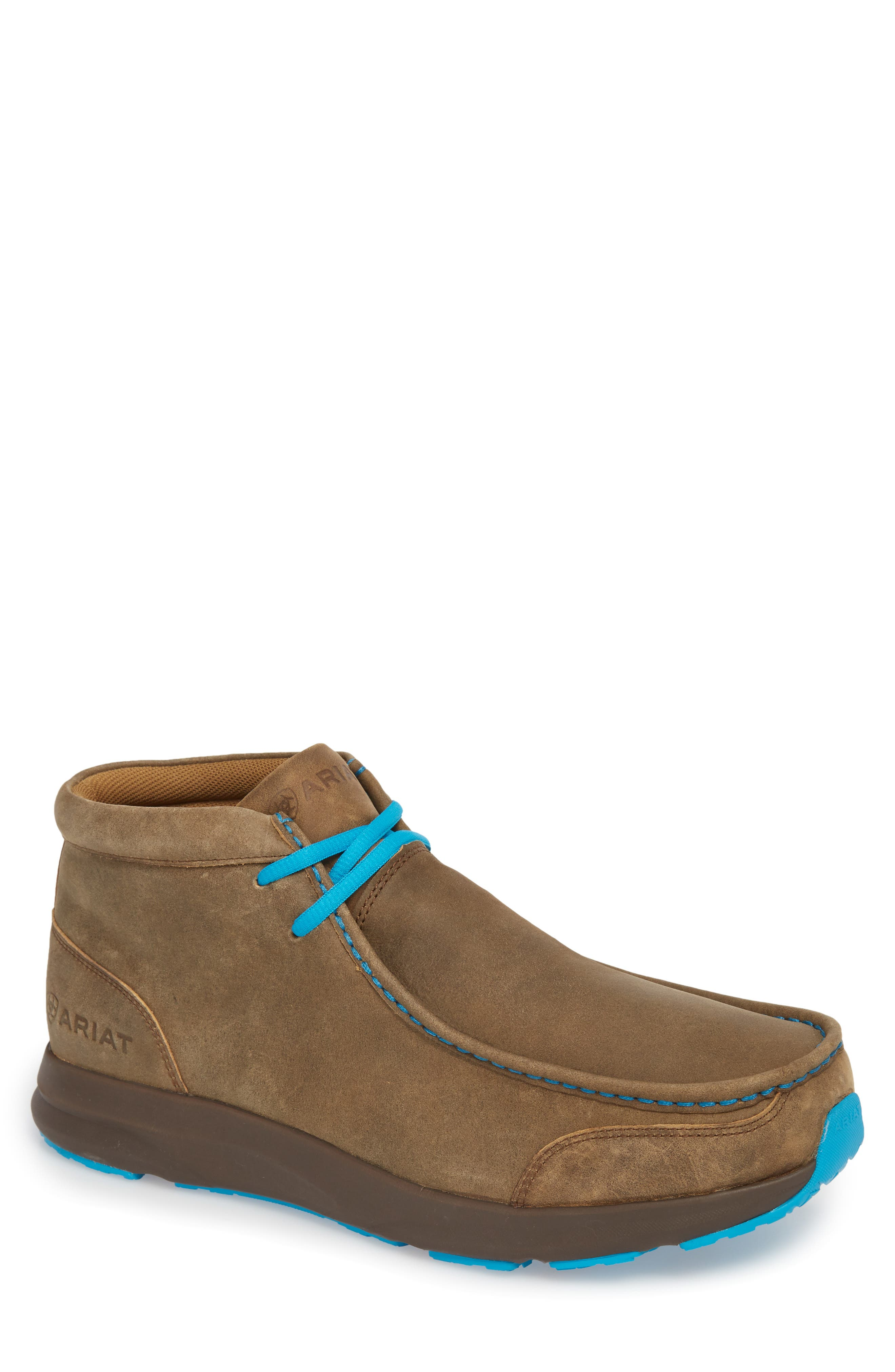 ARIAT Spitfire Chukka Boot, Main, color, BROWN BOMBER/ BLUE LEATHER