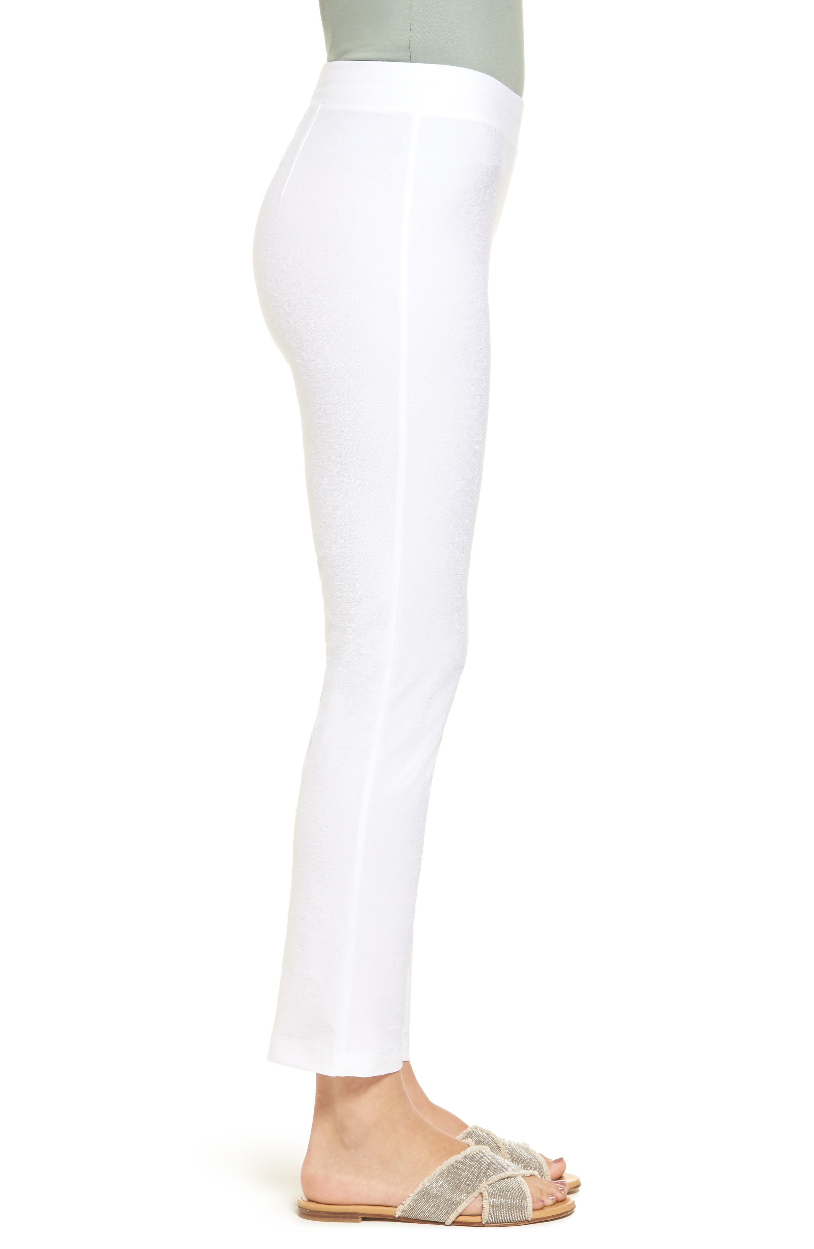 EILEEN FISHER, Stretch Crepe Slim Ankle Pants, Alternate thumbnail 3, color, WHITE