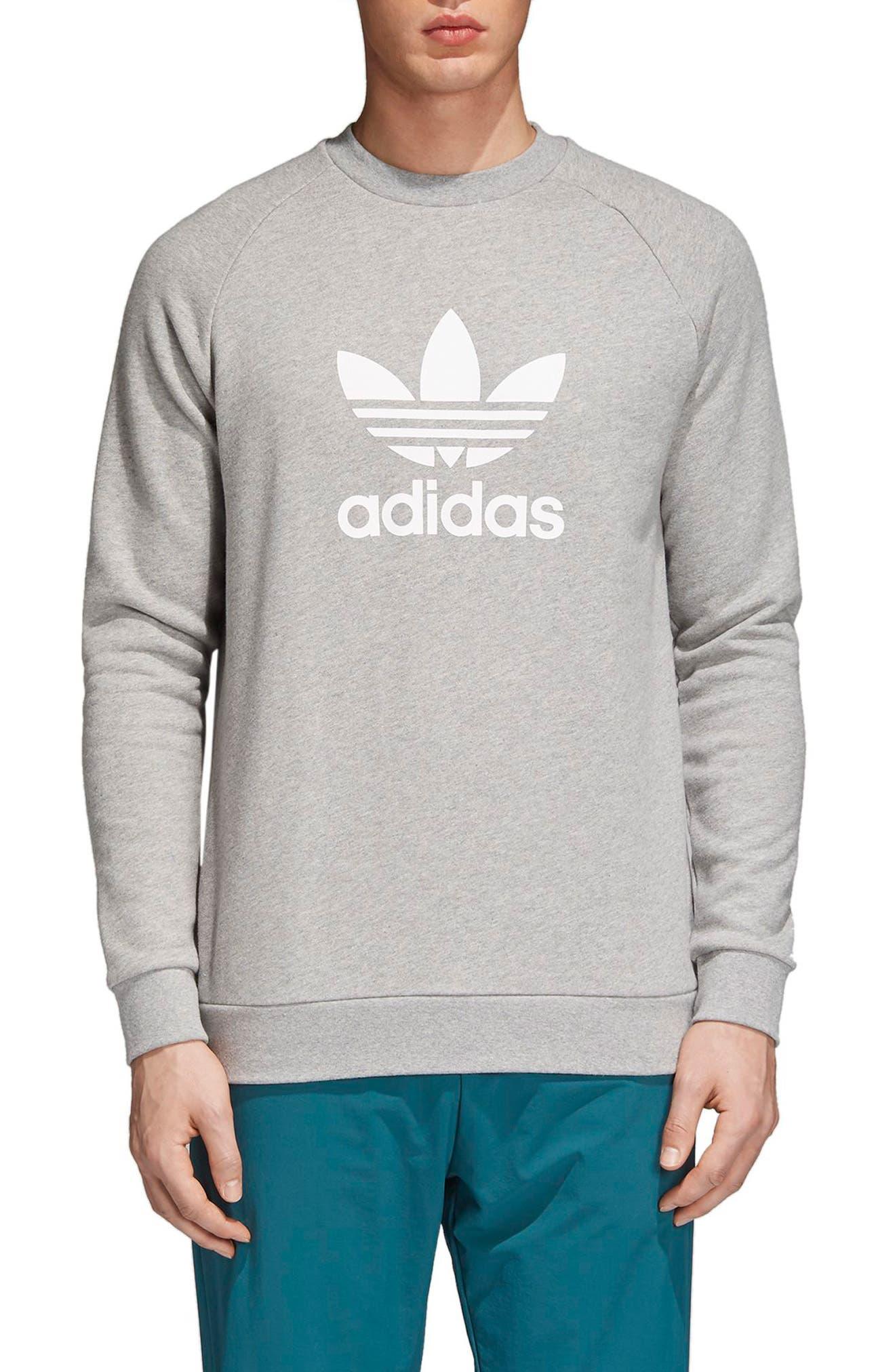 ADIDAS ORIGINALS, adidas Trefoil Crewneck Sweatshirt, Main thumbnail 1, color, MEDIUM GREY HEATHER