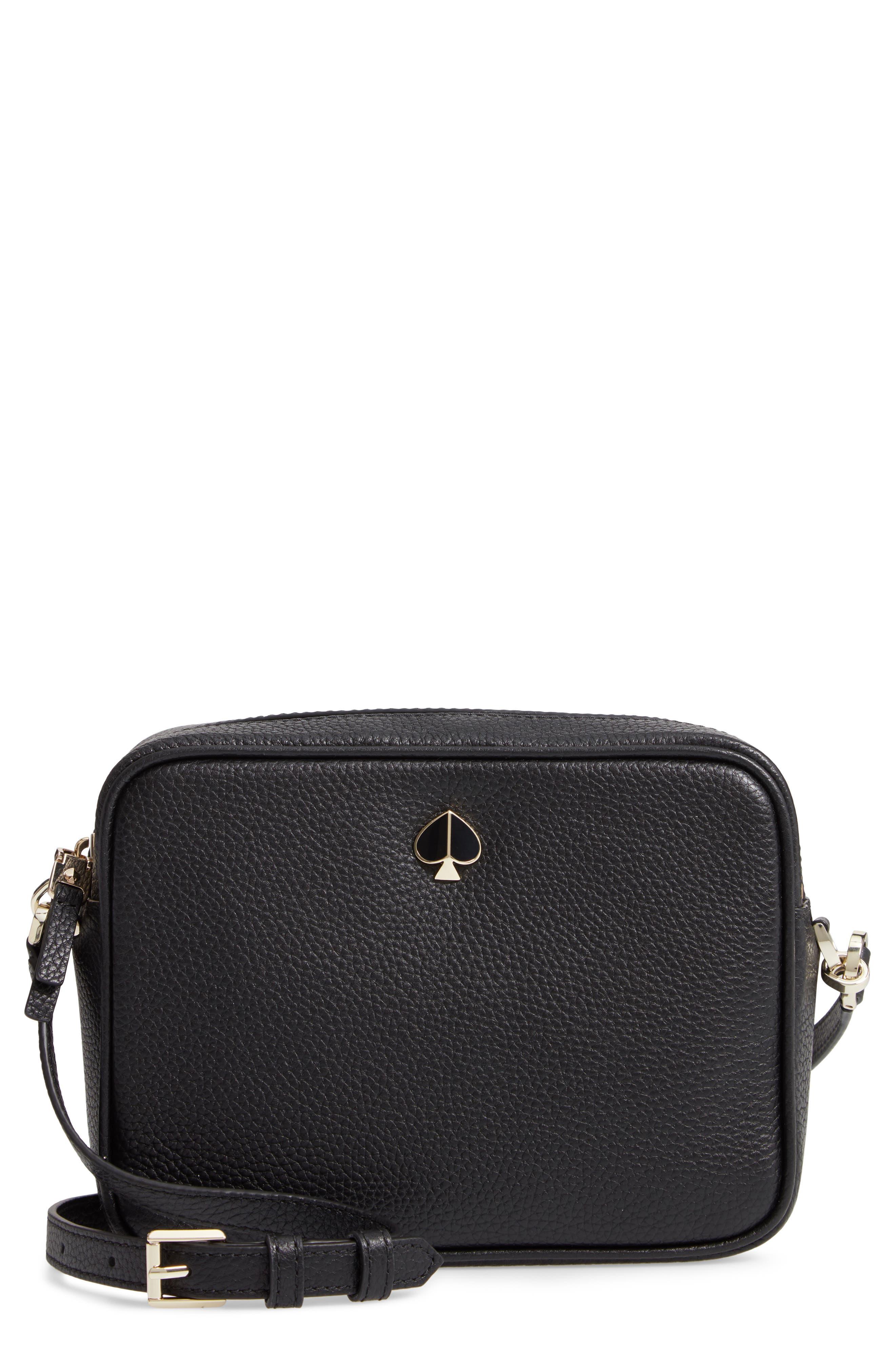 KATE SPADE NEW YORK medium polly leather camera bag, Main, color, BLACK