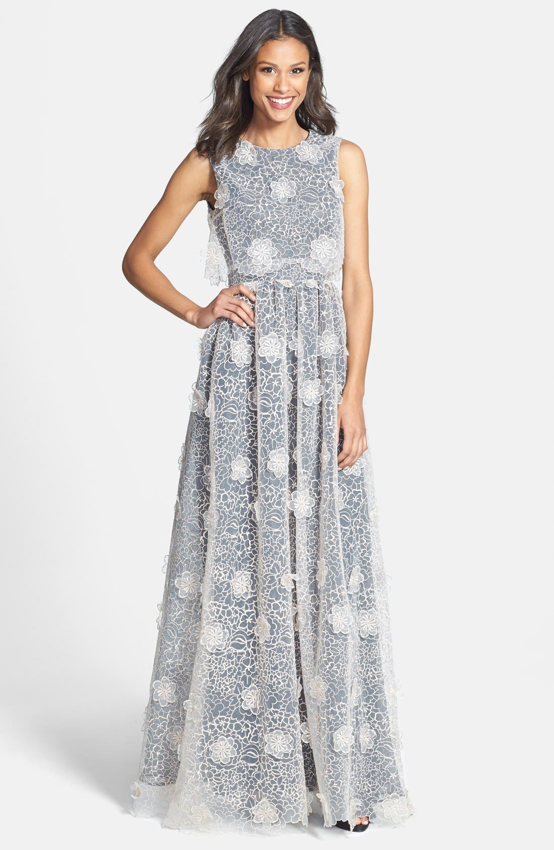 ERIN ERIN FETHERSTON, 'Jan' 3D Floral Organza Gown, Main thumbnail 1, color, 687