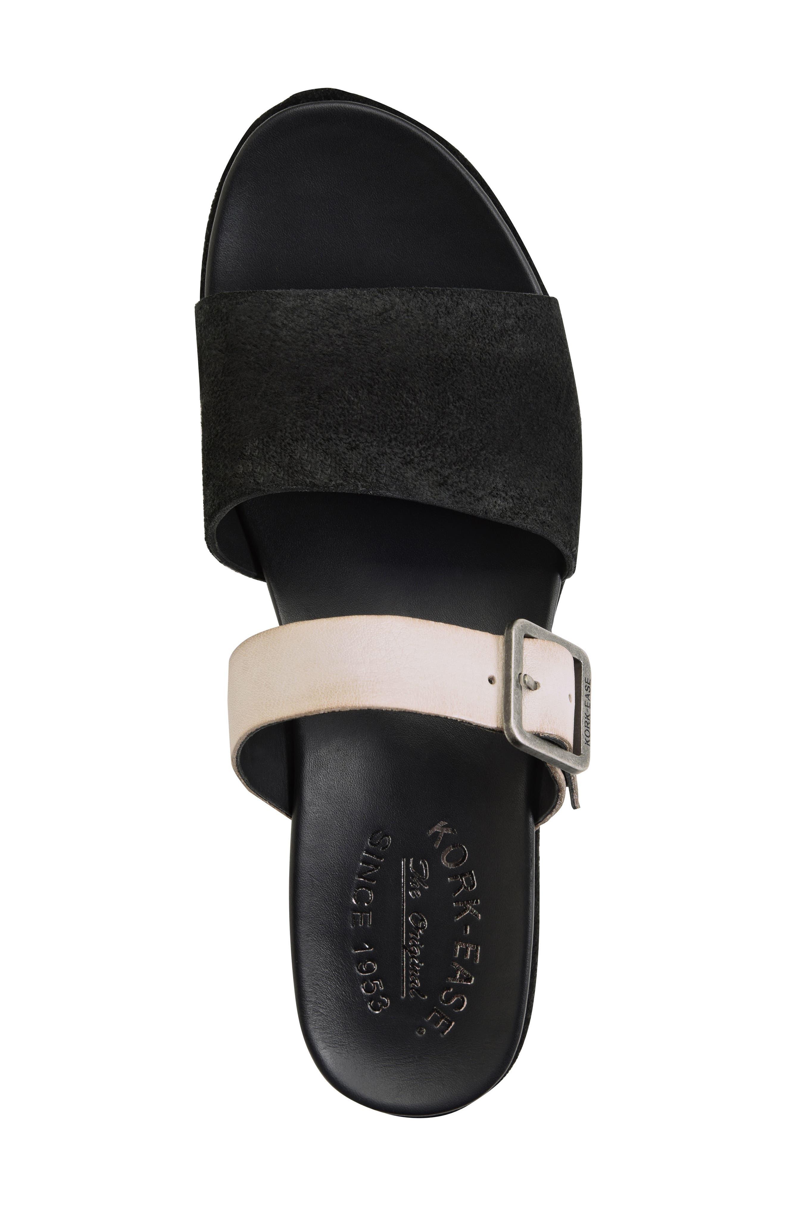 KORK-EASE<SUP>®</SUP>, Bisti Wedge Slide Sandal, Alternate thumbnail 4, color, BLACK/ GREY LEATHER
