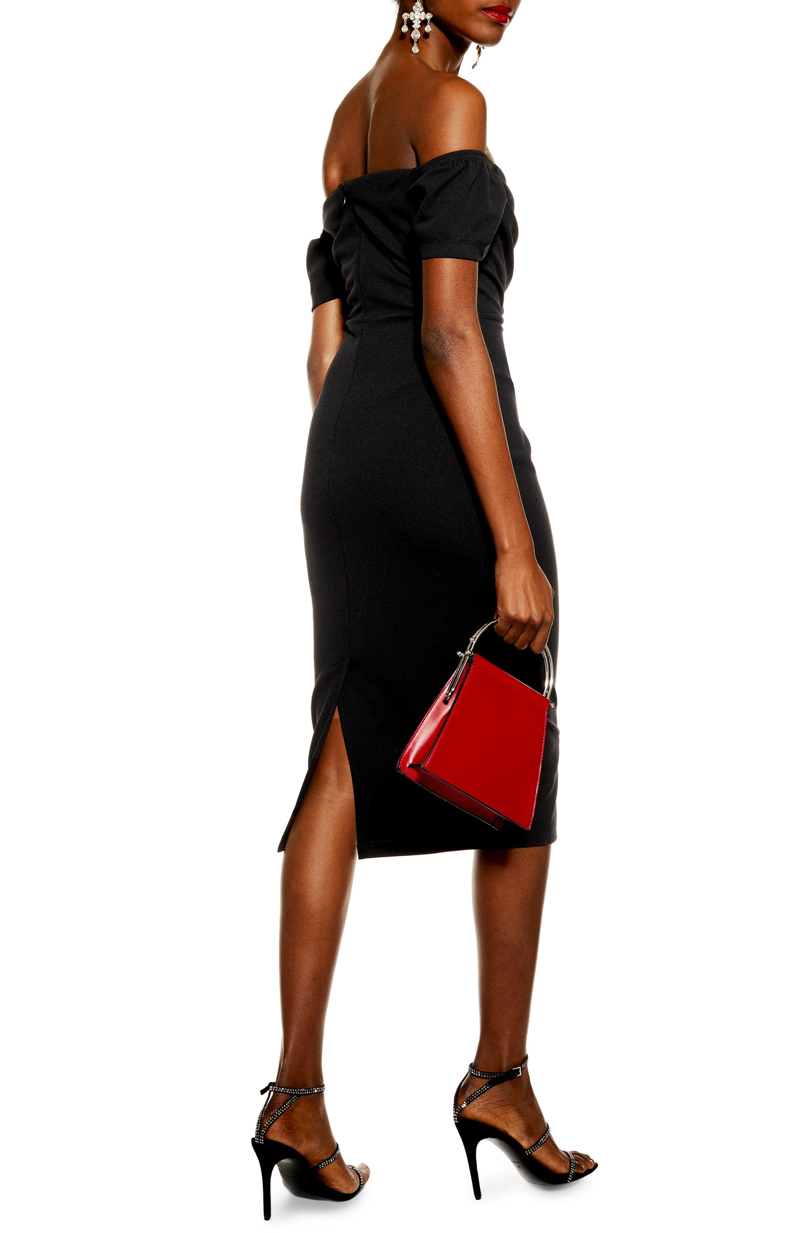 TOPSHOP, Off the Shoulder Wrap Midi Dress, Alternate thumbnail 2, color, BLACK