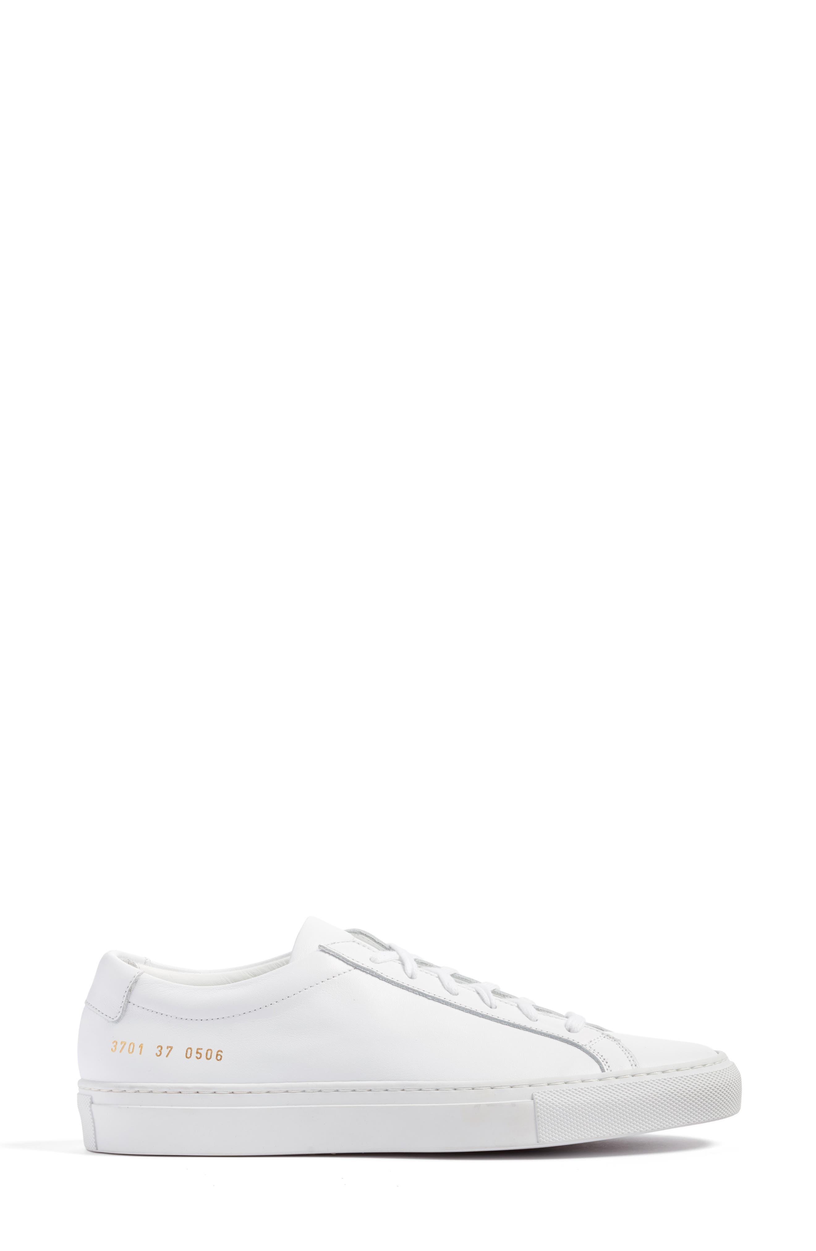 COMMON PROJECTS, Original Achilles Sneaker, Alternate thumbnail 3, color, WHITE LEATHER