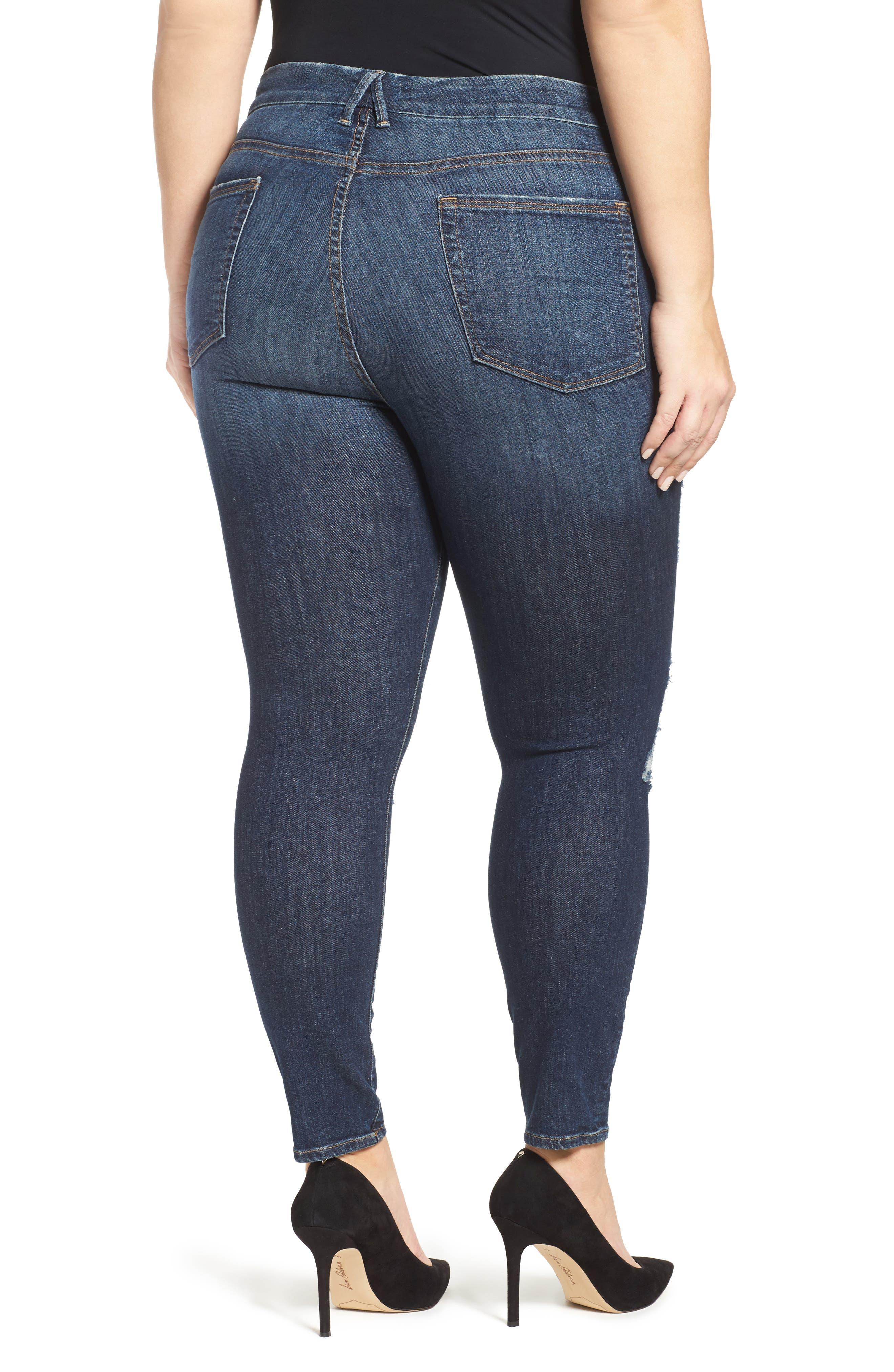 GOOD AMERICAN, Good Legs High Rise Crop Skinny Jeans, Alternate thumbnail 2, color, 401