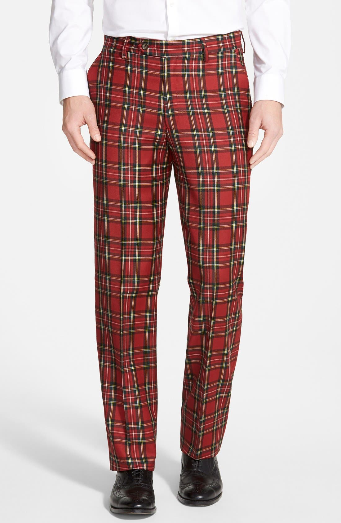 BERLE, Flat Front Plaid Wool Trousers, Main thumbnail 1, color, RED