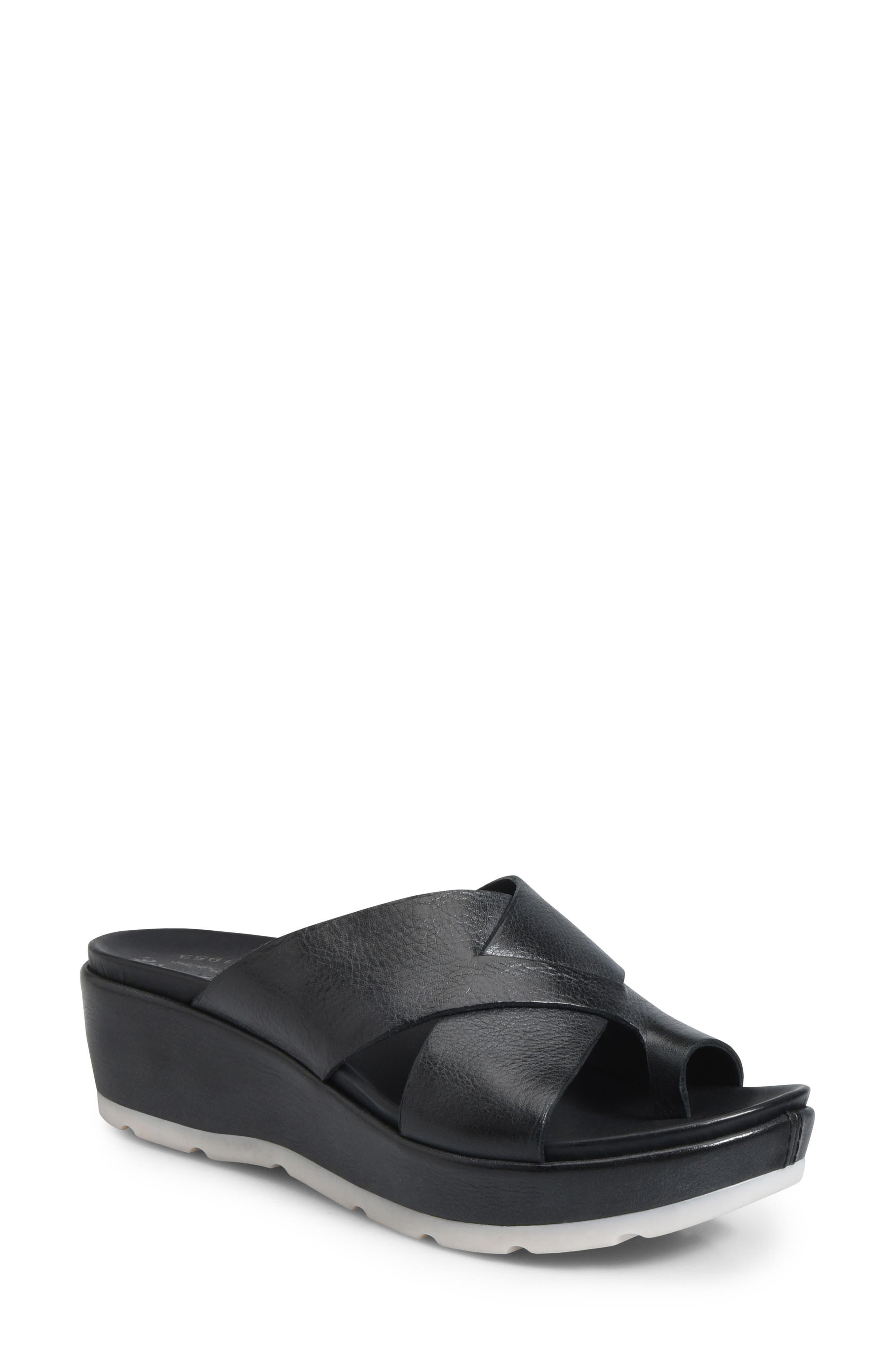 KORK-EASE<SUP>®</SUP>, Baja Sport Slide Sandal, Main thumbnail 1, color, BLACK LEATHER