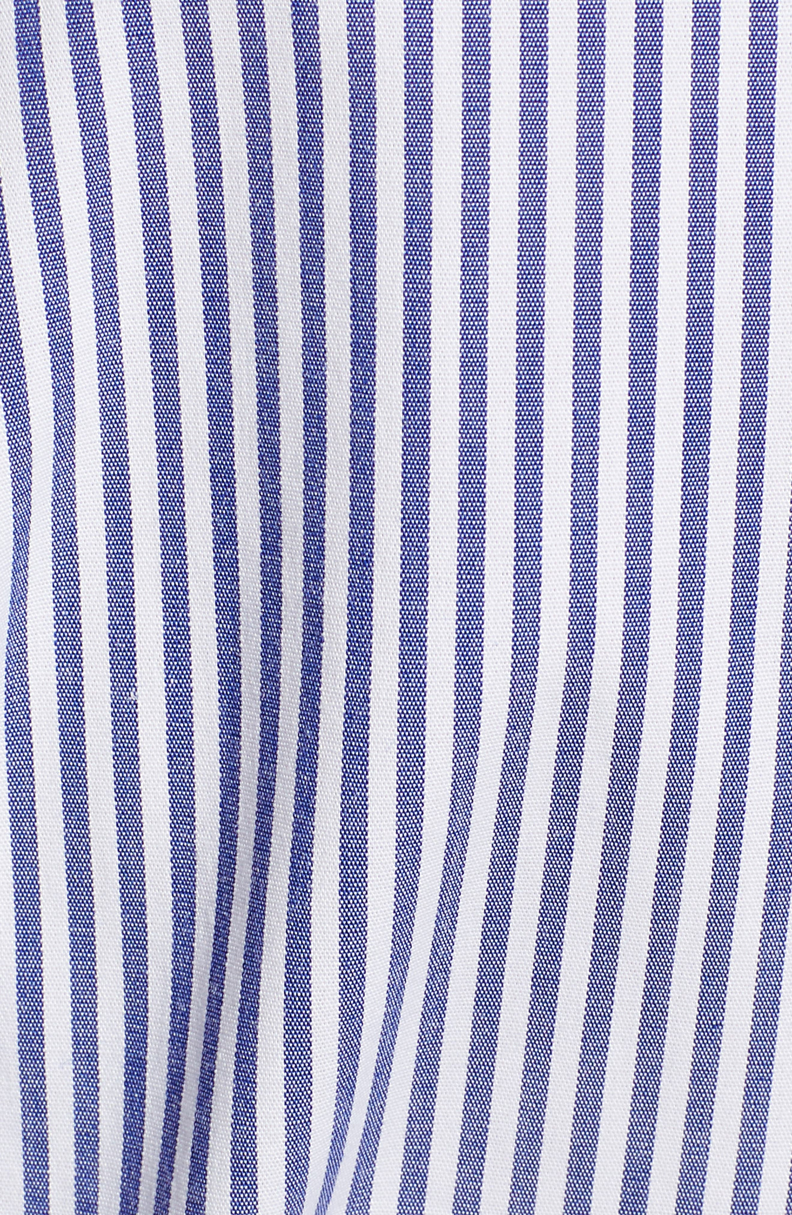 J.CREW, Stretch Cotton Stripe Wrap Top, Alternate thumbnail 5, color, BLUE