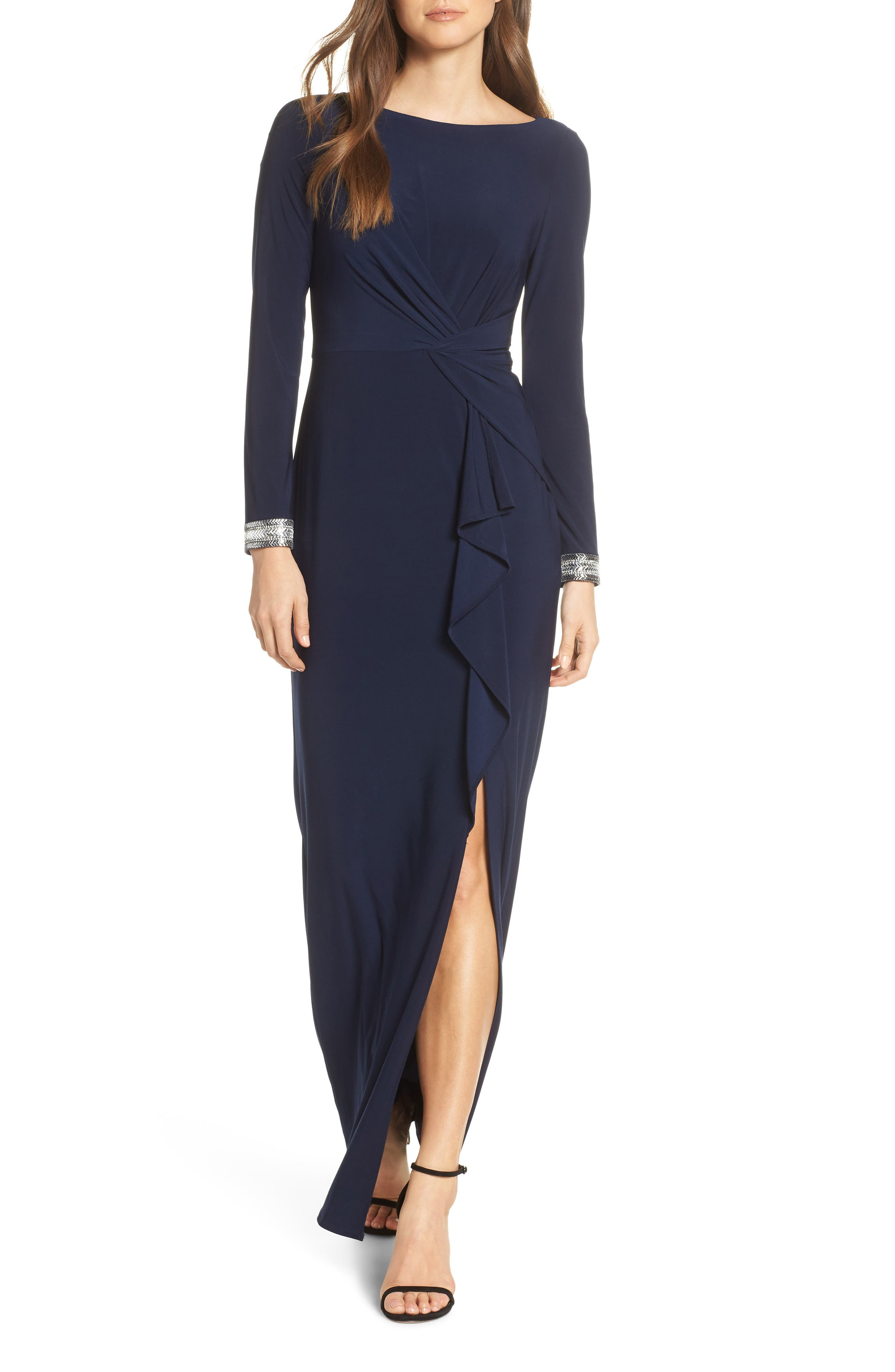 VINCE CAMUTO, Beaded Cuff Ruched Jersey Dress, Main thumbnail 1, color, NAVY