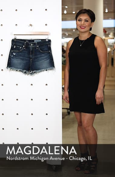 Bryn High Rise Cutoff Denim Shorts, sales video thumbnail