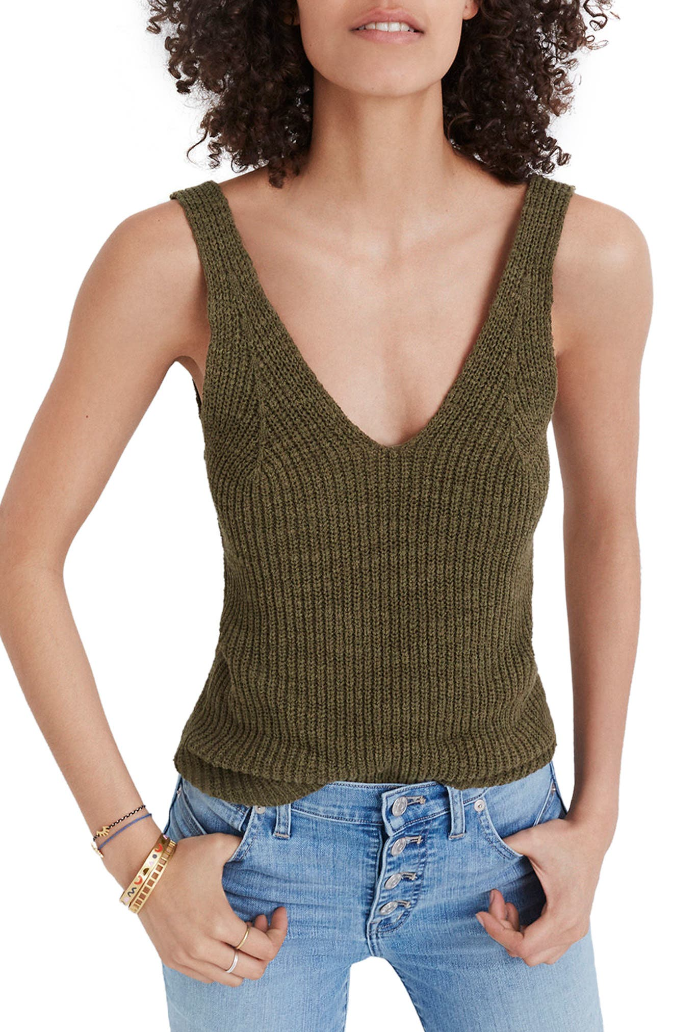 MADEWELL, Monterey Sweater Tank, Main thumbnail 1, color, DARK OLIVE