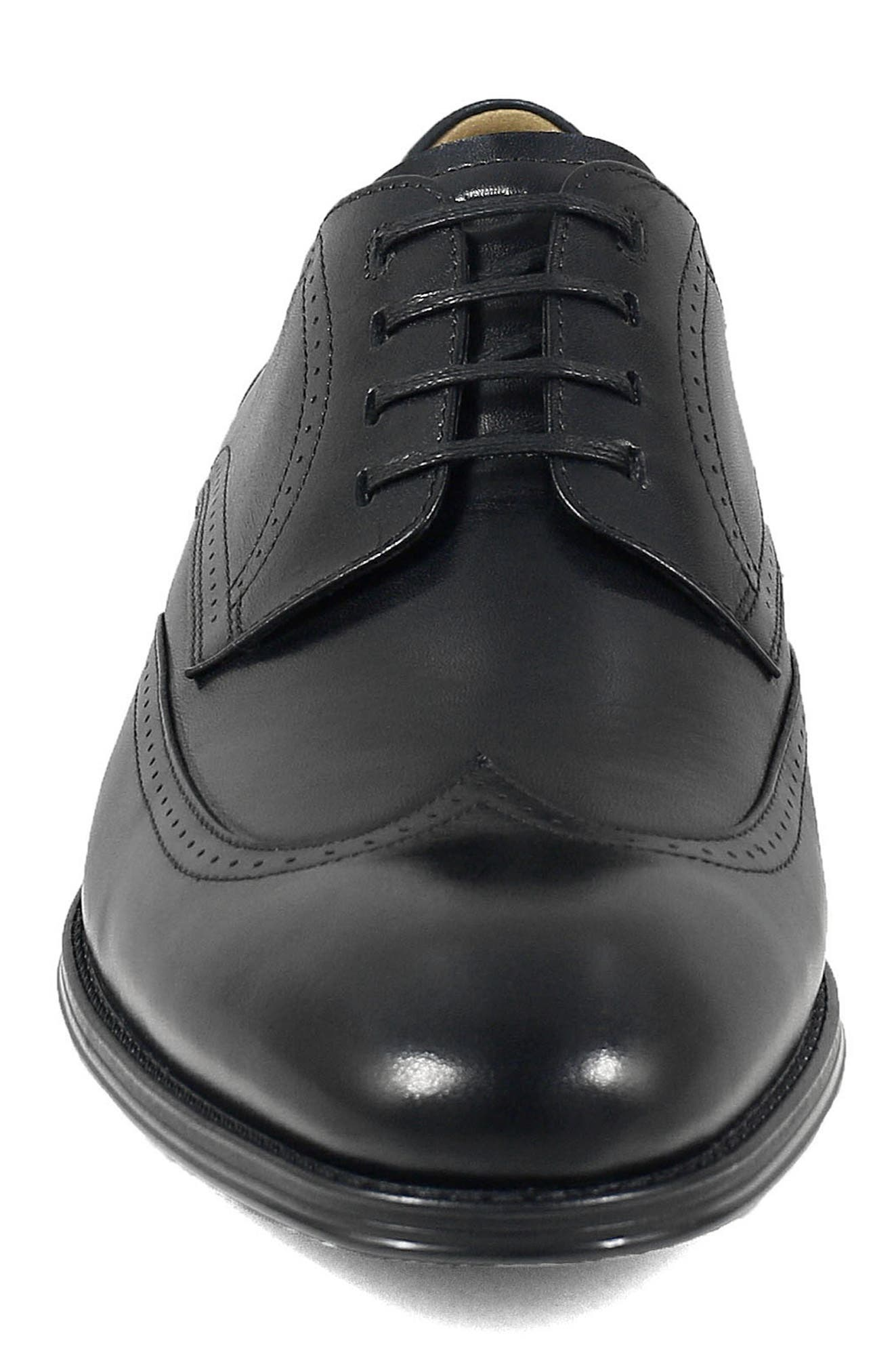 FLORSHEIM, Cardinelli Wingtip, Alternate thumbnail 4, color, BLACK LEATHER