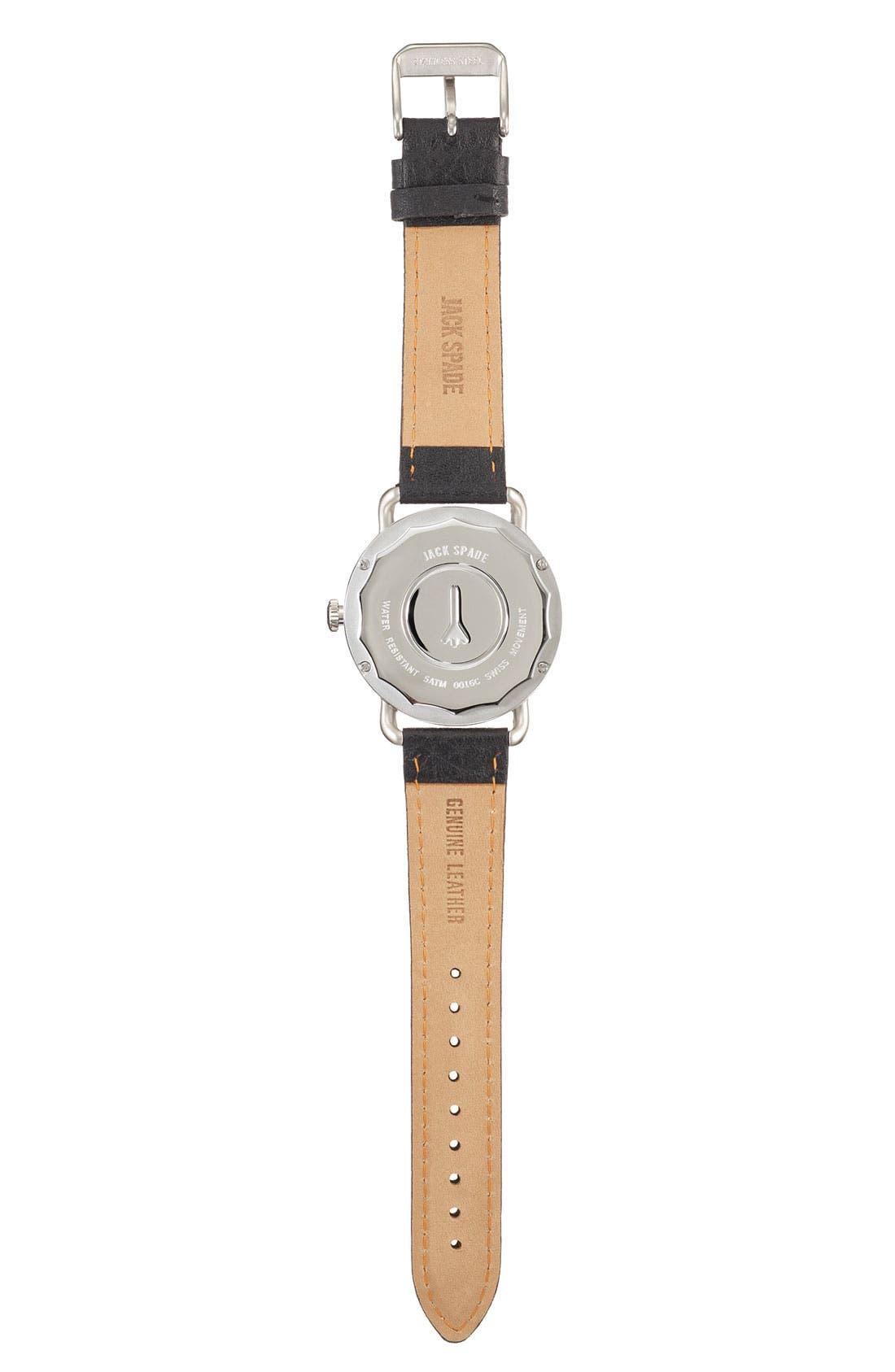 JACK SPADE, 'Buckner' Leather Strap Watch, 42mm, Alternate thumbnail 2, color, 001